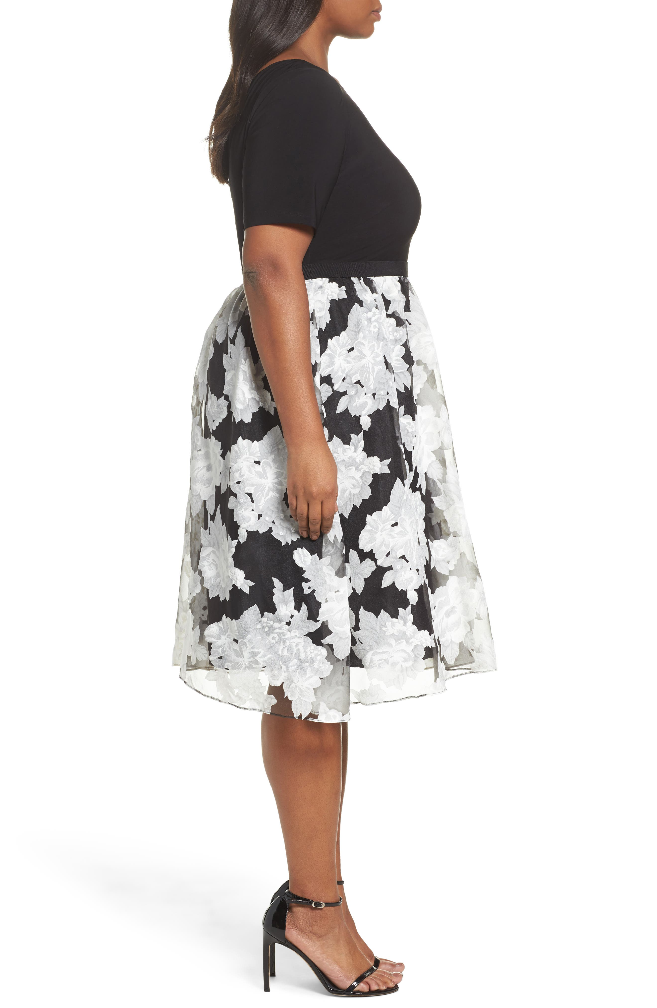 Print Organza Fit & Flare Dress,                             Alternate thumbnail 3, color,                             Black/ Ivory