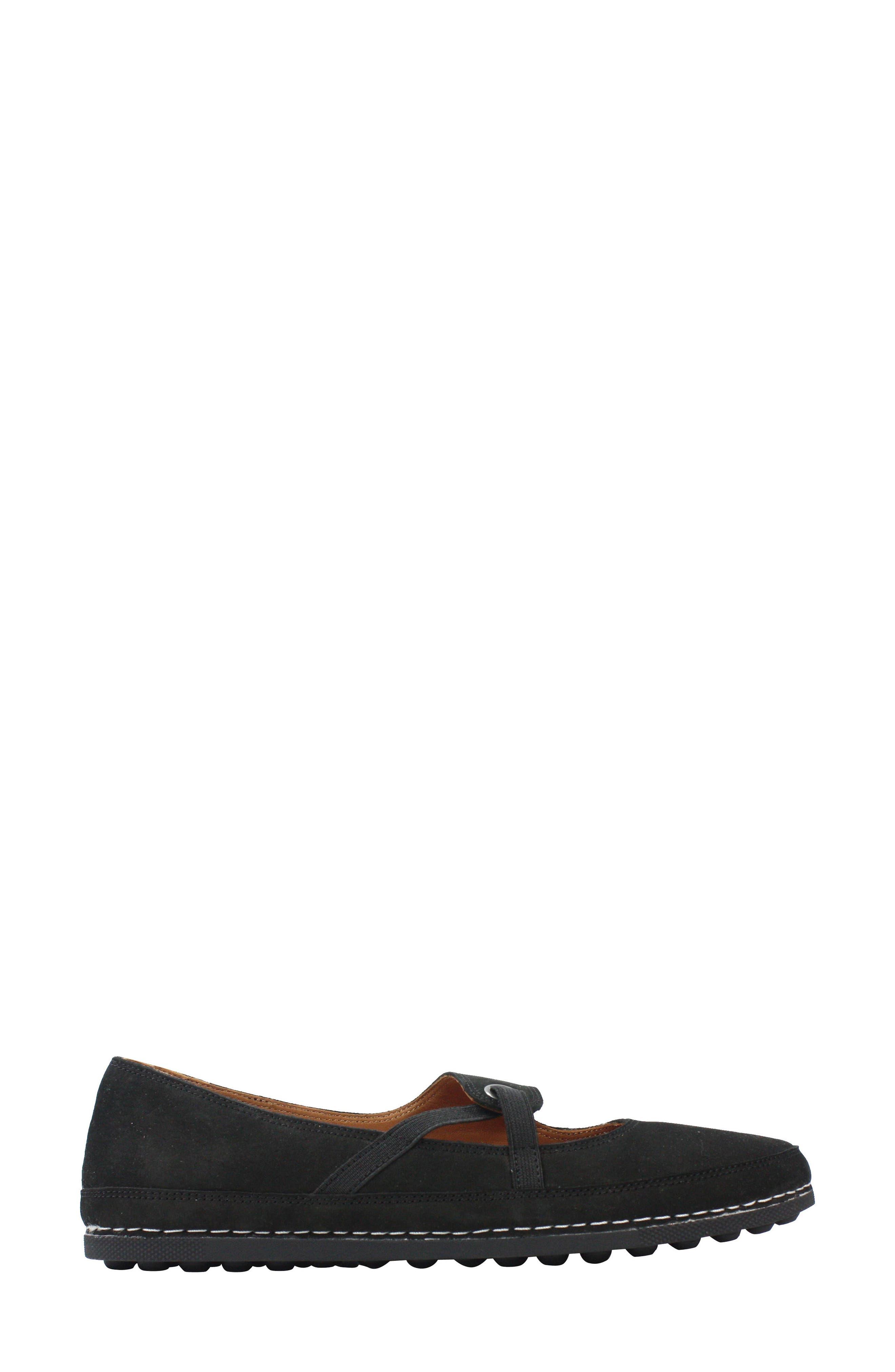 Denisse Mary Jane Flat,                             Alternate thumbnail 3, color,                             Black Nubuck Leather