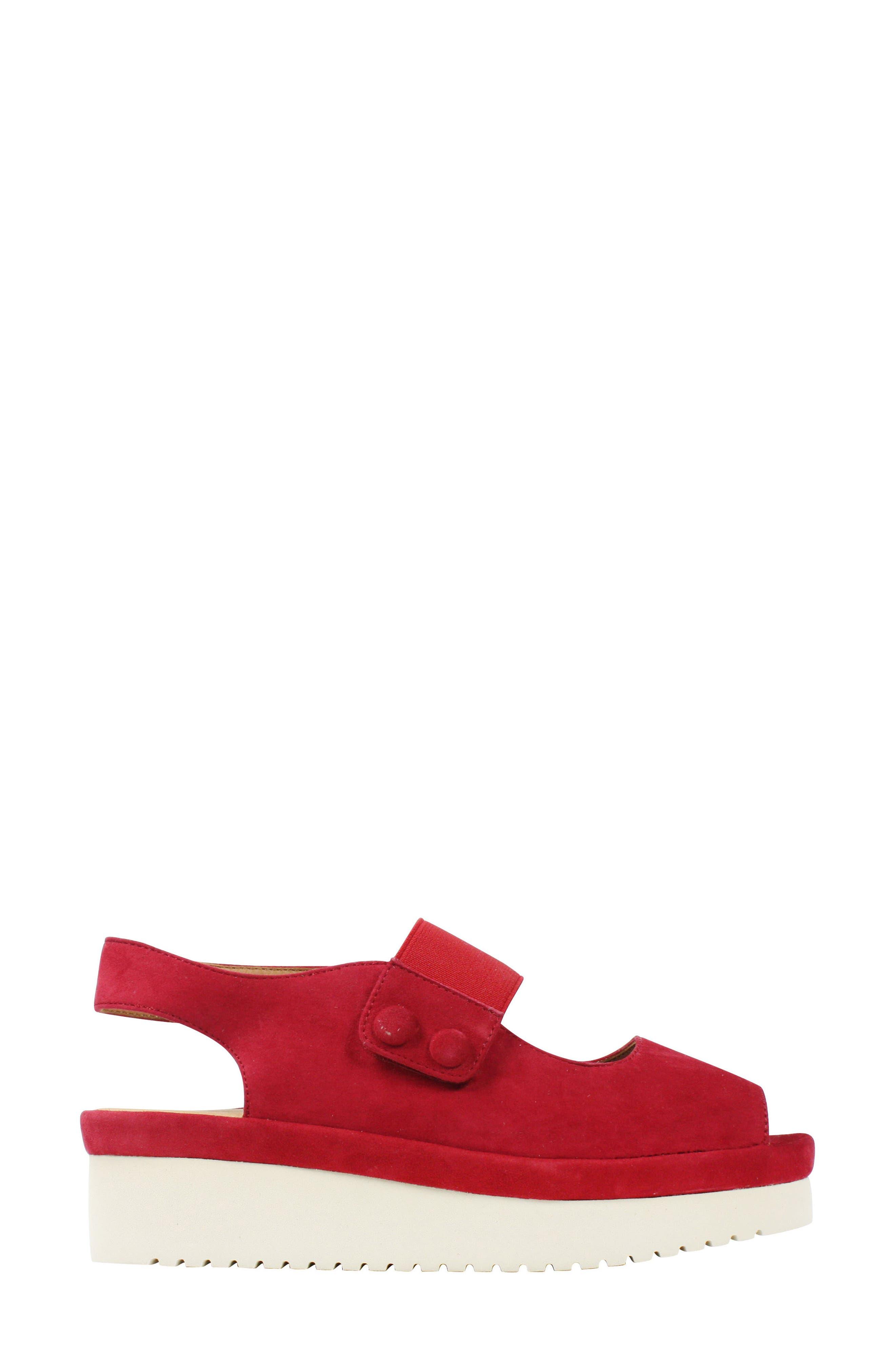 Adalicia Platform Sandal,                             Alternate thumbnail 3, color,                             Bright Red Suede