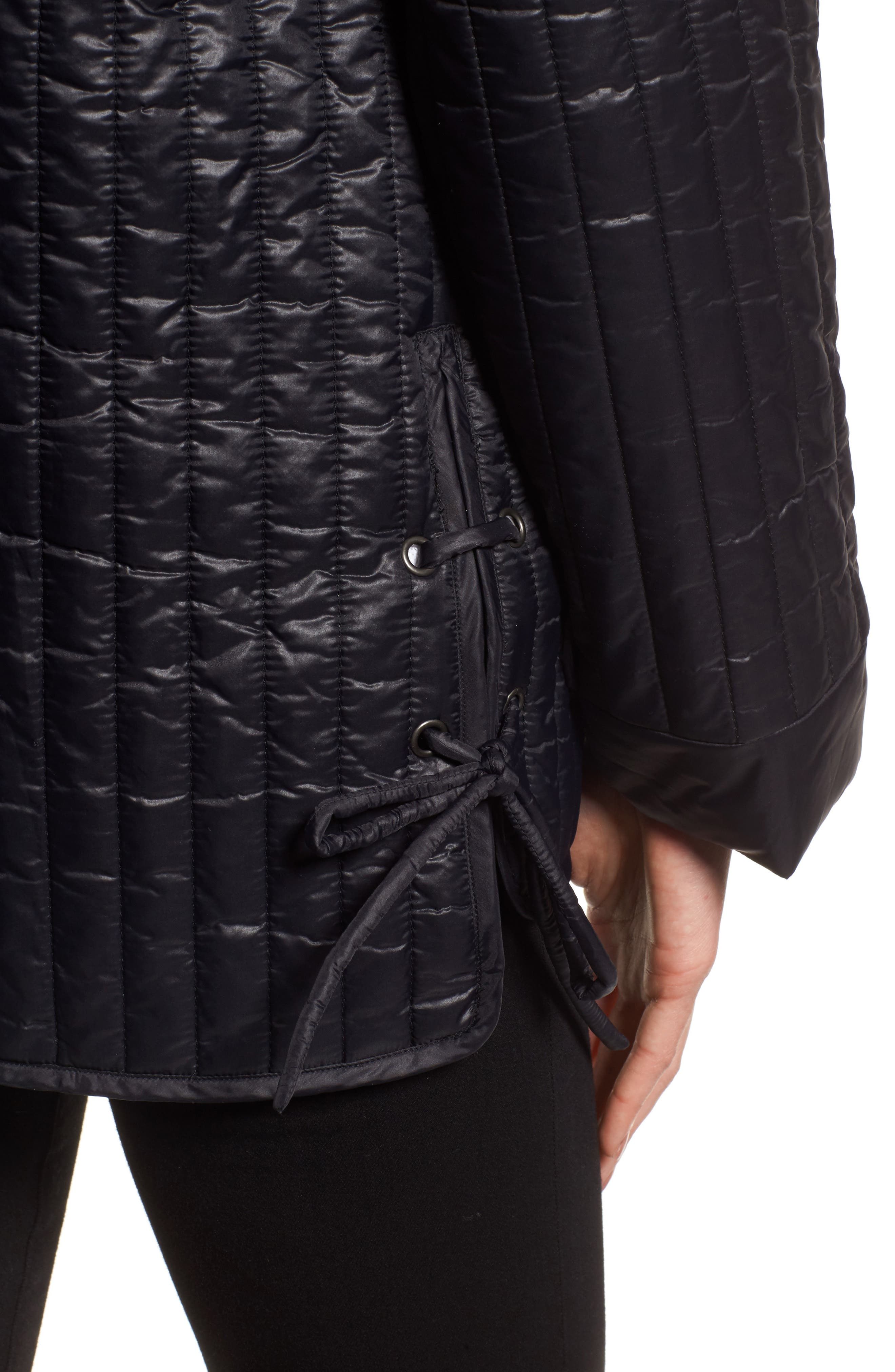 Side Tie Quilted Jacket,                             Alternate thumbnail 4, color,                             Black