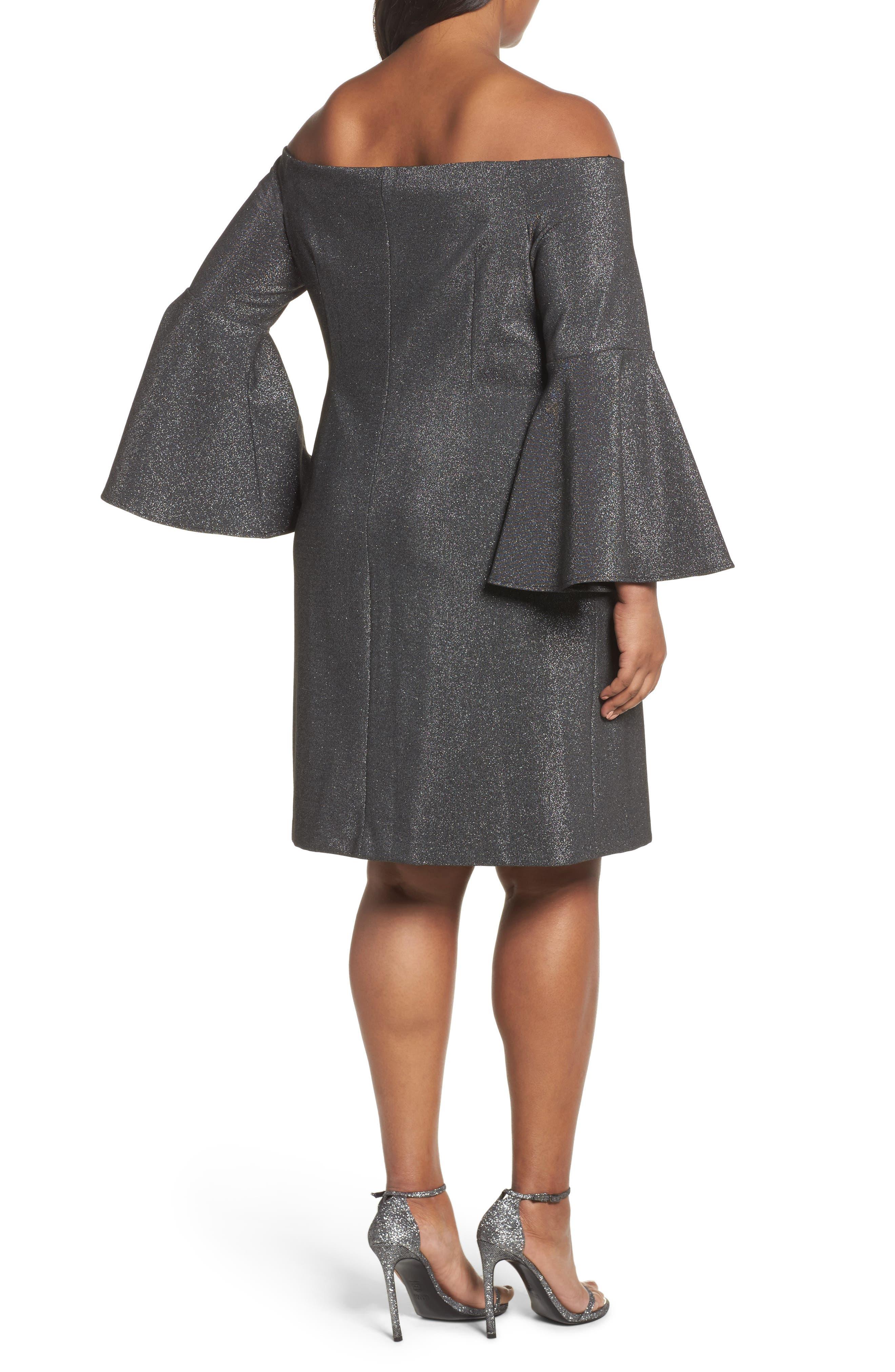 Off the Shoulder Metallic Sheath Dress,                             Alternate thumbnail 2, color,                             Rich Black