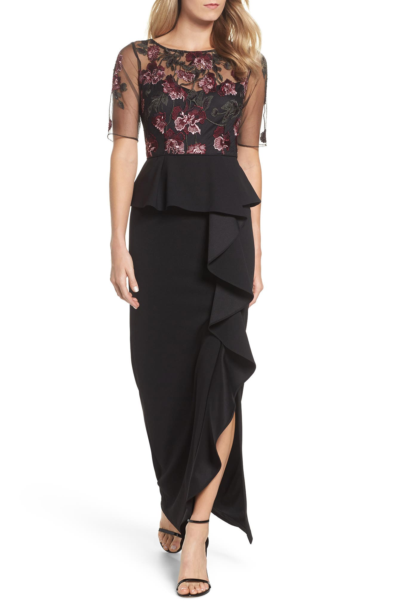 Embroidered Ruffle Gown,                         Main,                         color, Cabernet Multi