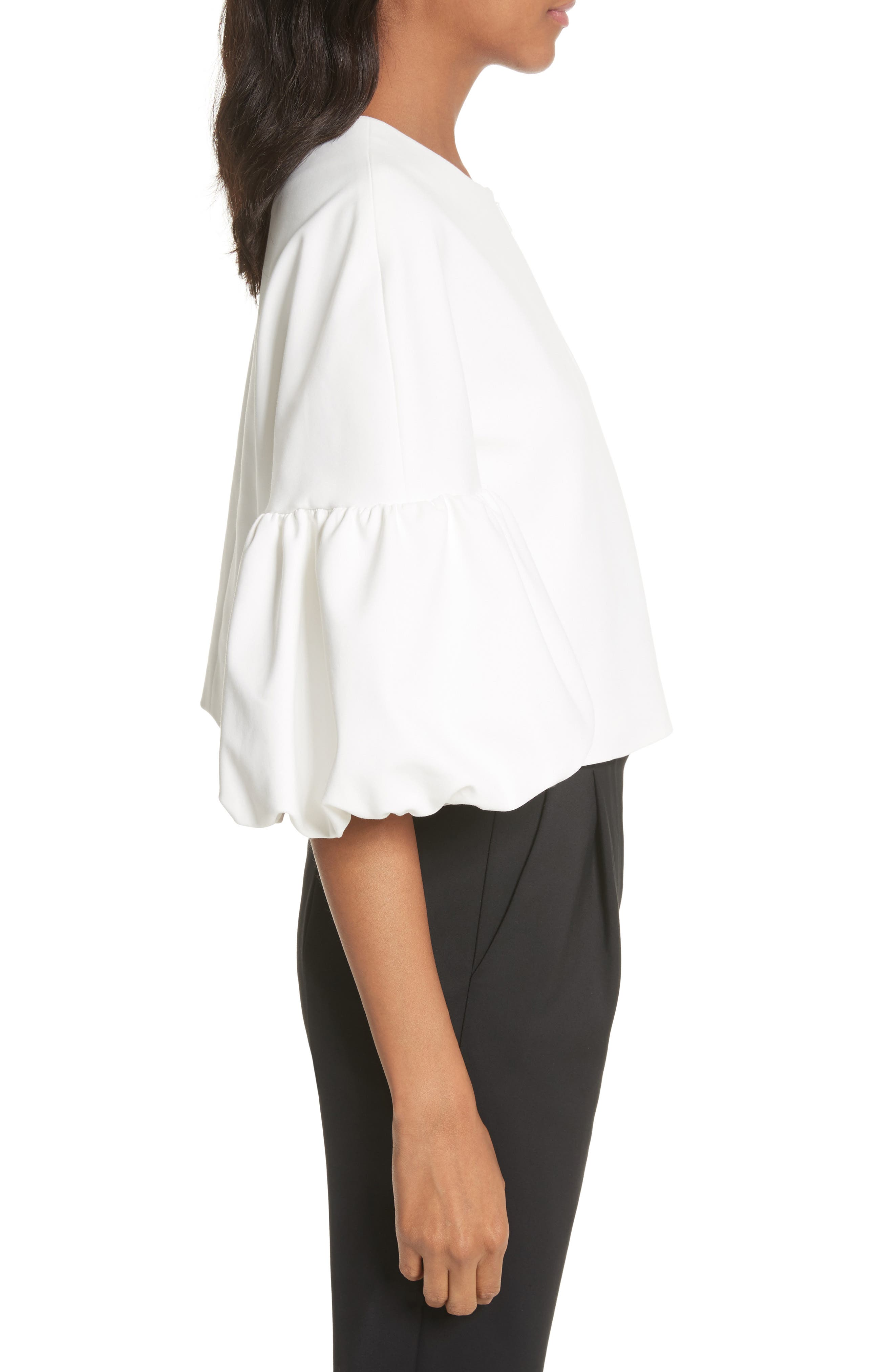 Balloon Sleeve Top,                             Alternate thumbnail 3, color,                             Ivory