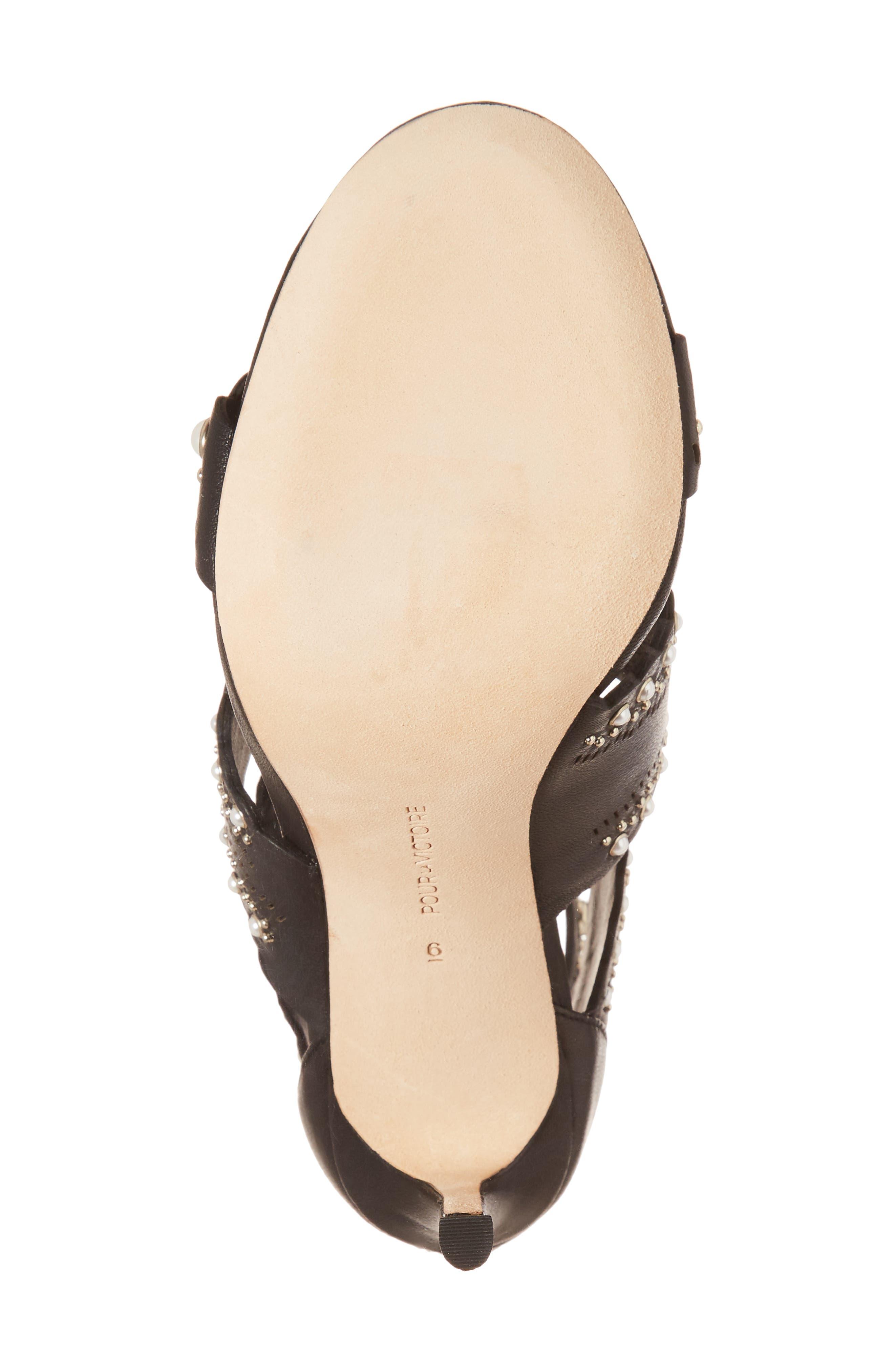 Ellura Scalloped Strap Sandal,                             Alternate thumbnail 6, color,                             Black Leather
