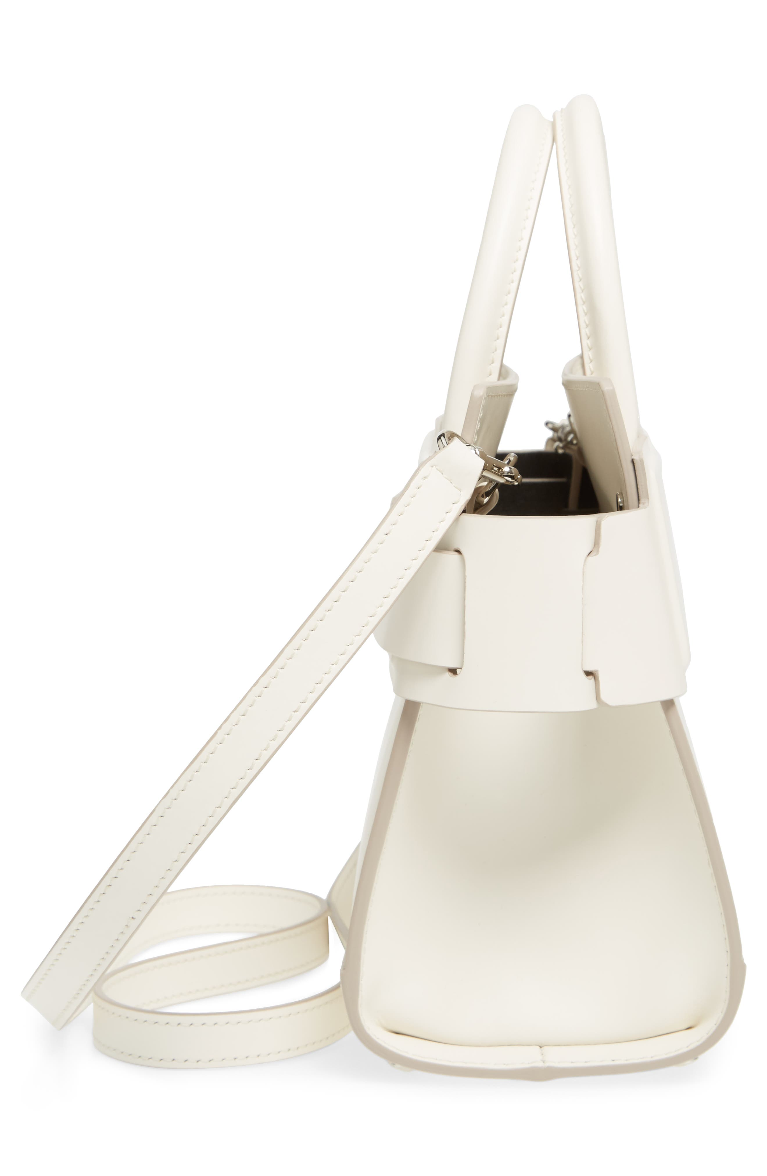 Mini Horizon Calfskin Leather Tote,                             Alternate thumbnail 5, color,                             Off White