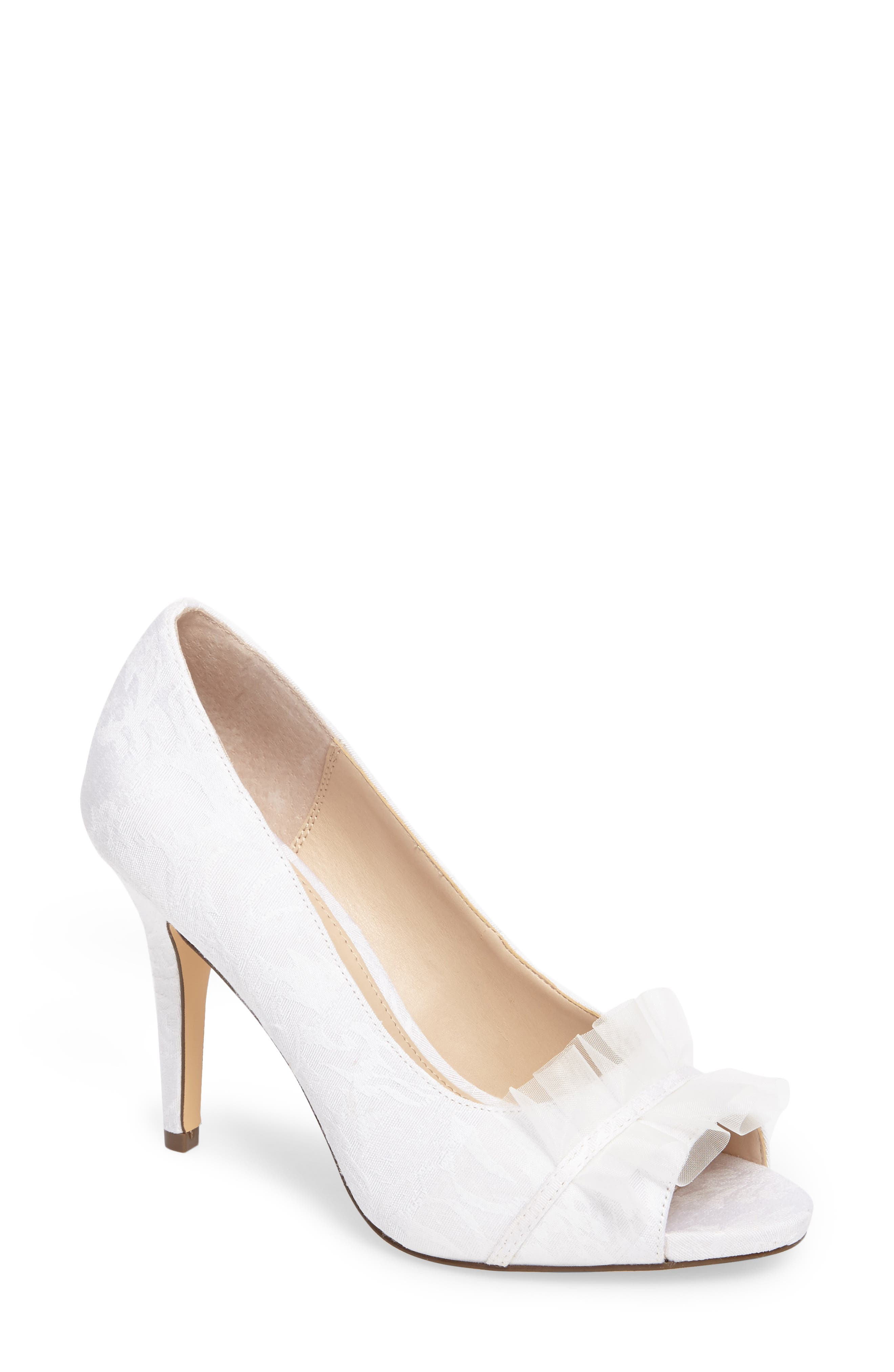 Nina Raizel Ruffle Open Toe Pump (Women)