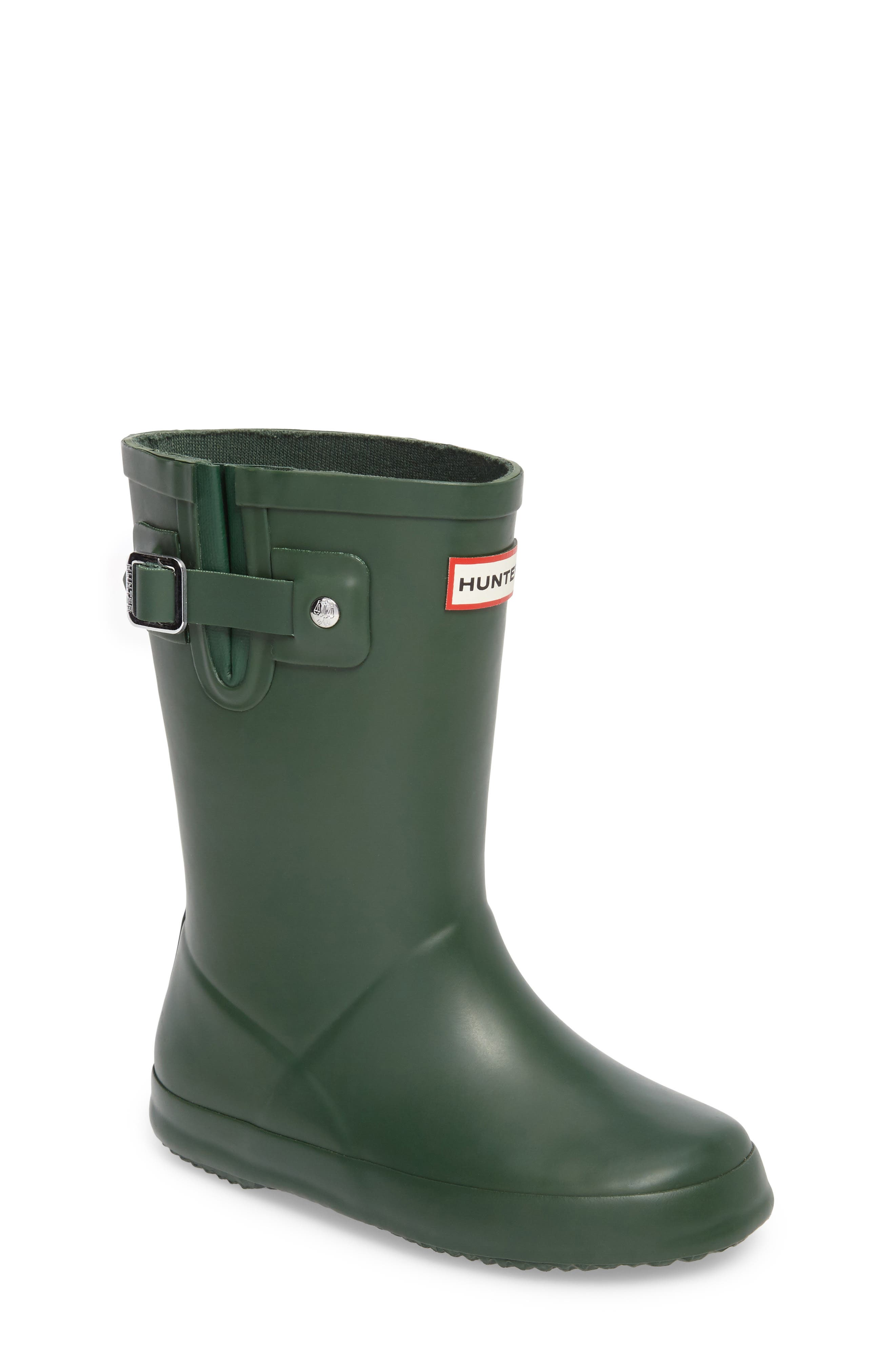 Buckle Strap Rain Boot,                         Main,                         color, Green