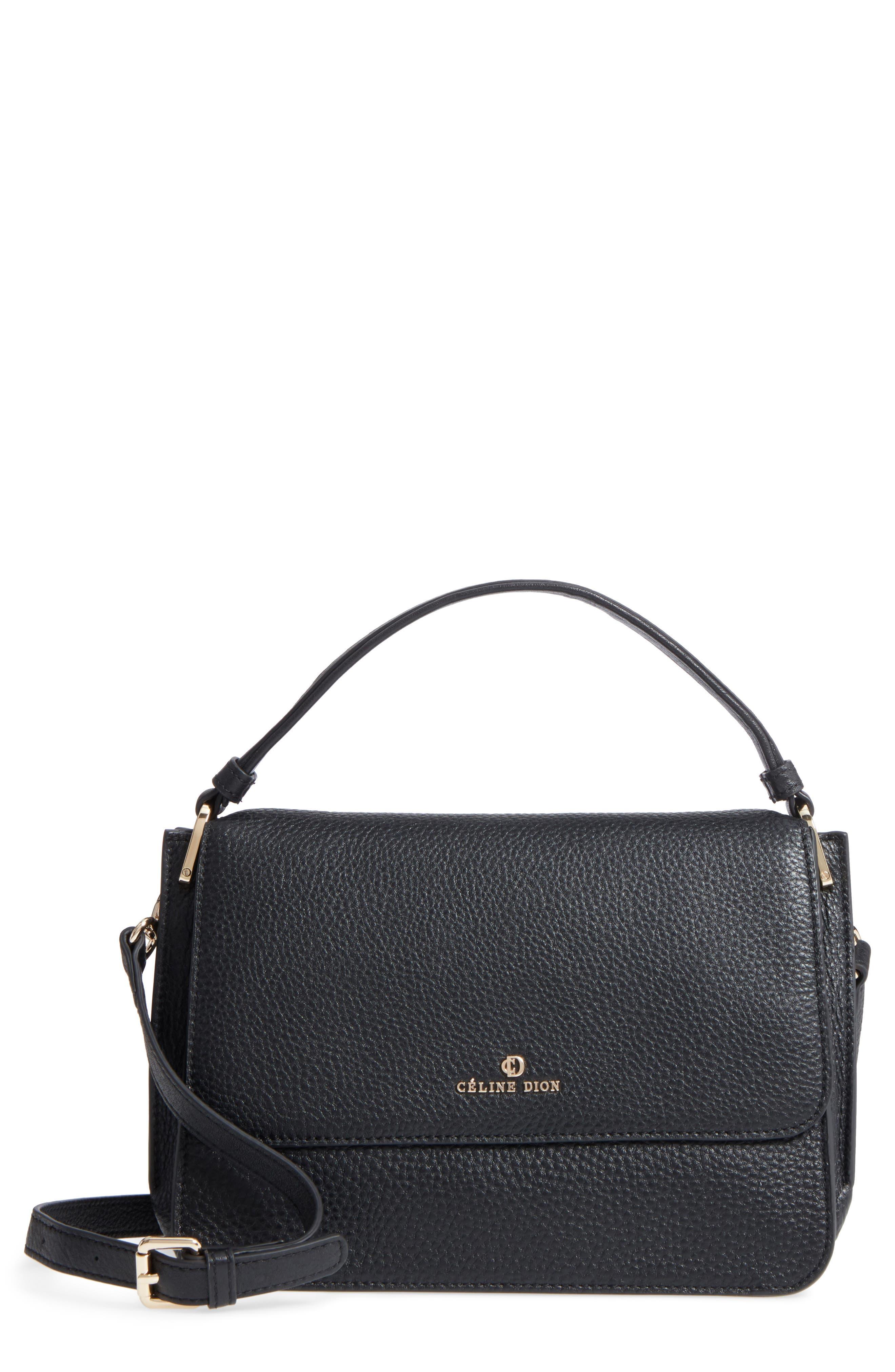 Céline Dion Adagio Leather Satchel,                             Main thumbnail 1, color,                             Black