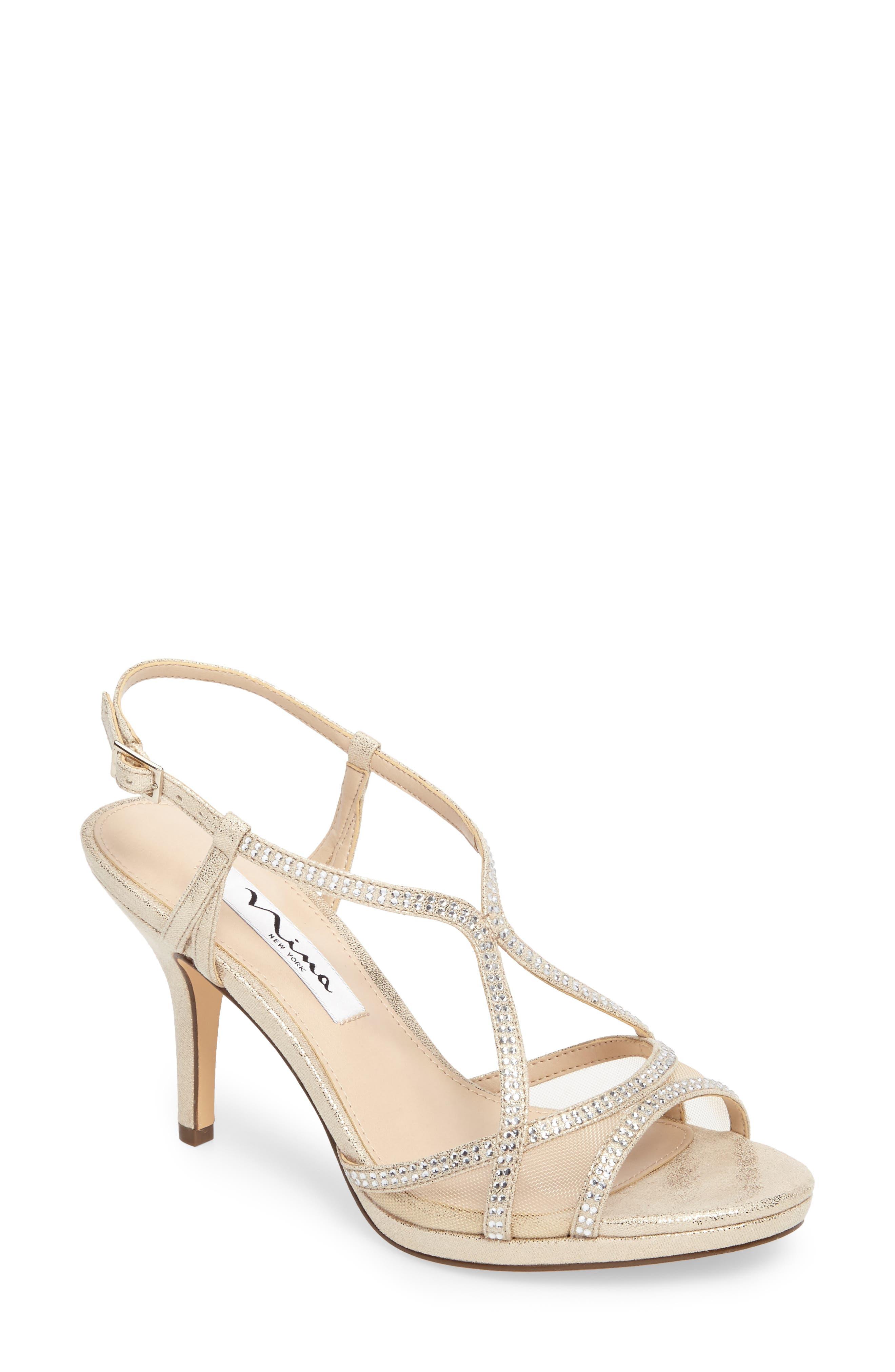 Blossom Crystal Embellished Sandal,                         Main,                         color, Gold Fabric