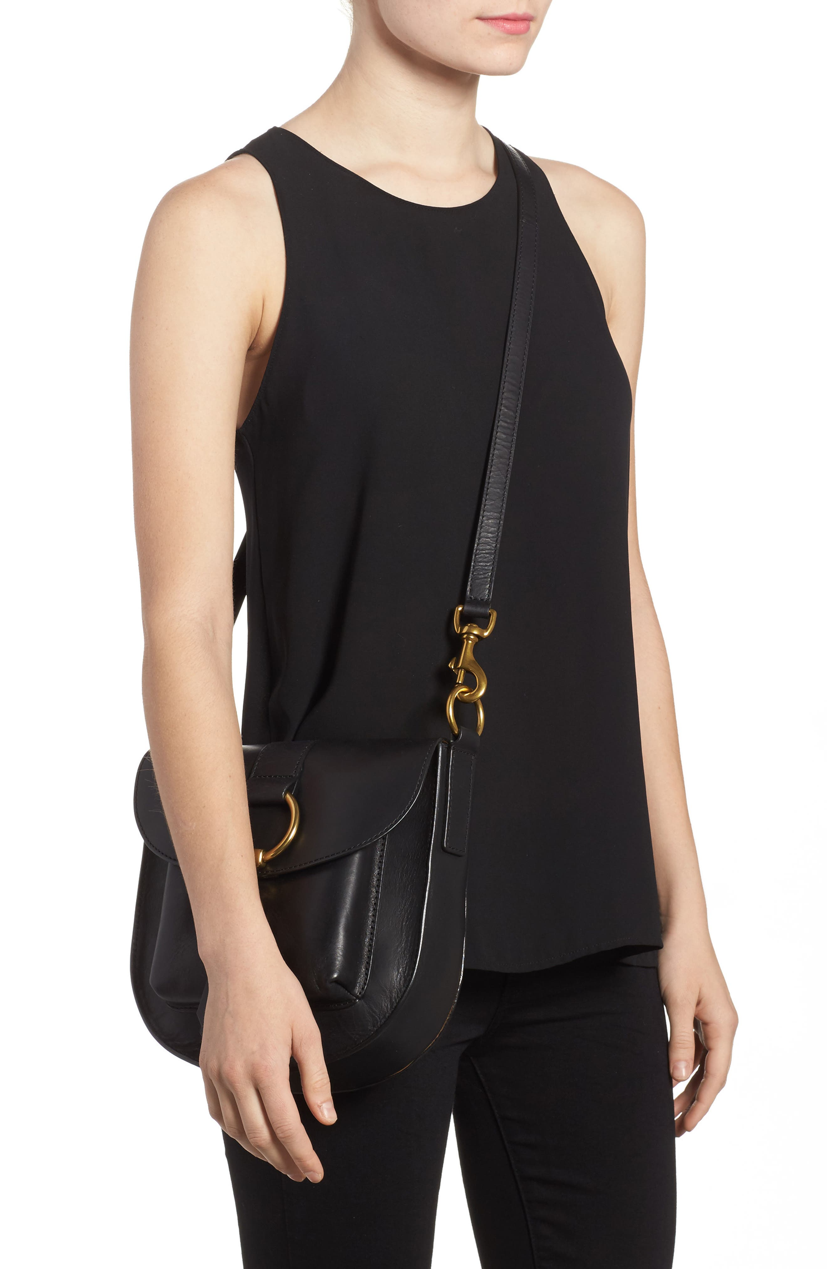 Ilana Leather Saddle Bag,                             Alternate thumbnail 2, color,                             Black