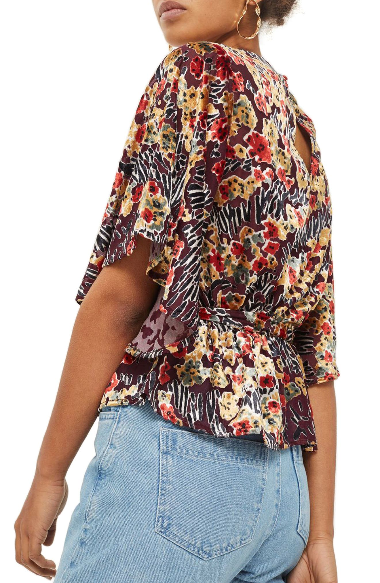 Devoré Bell Sleeve Blouse,                             Alternate thumbnail 2, color,                             Red Multi