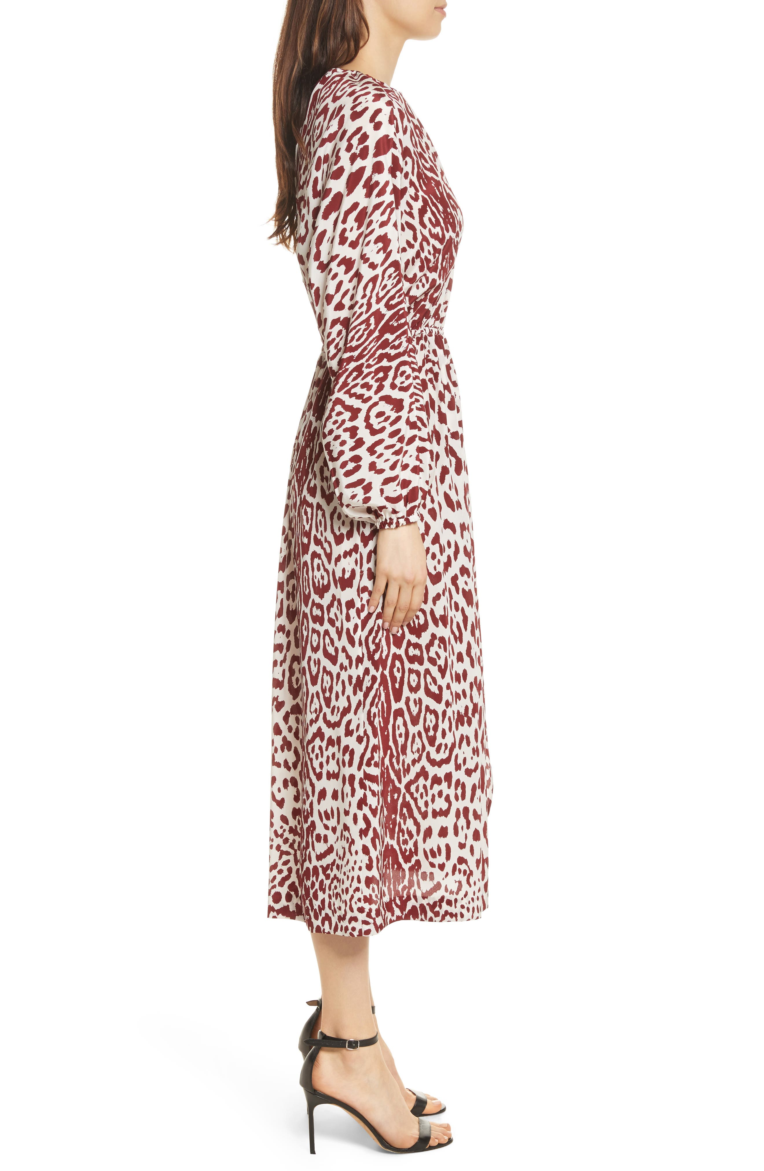 Leopard Print Silk Midi Dress,                             Alternate thumbnail 3, color,                             Crimson Leopard