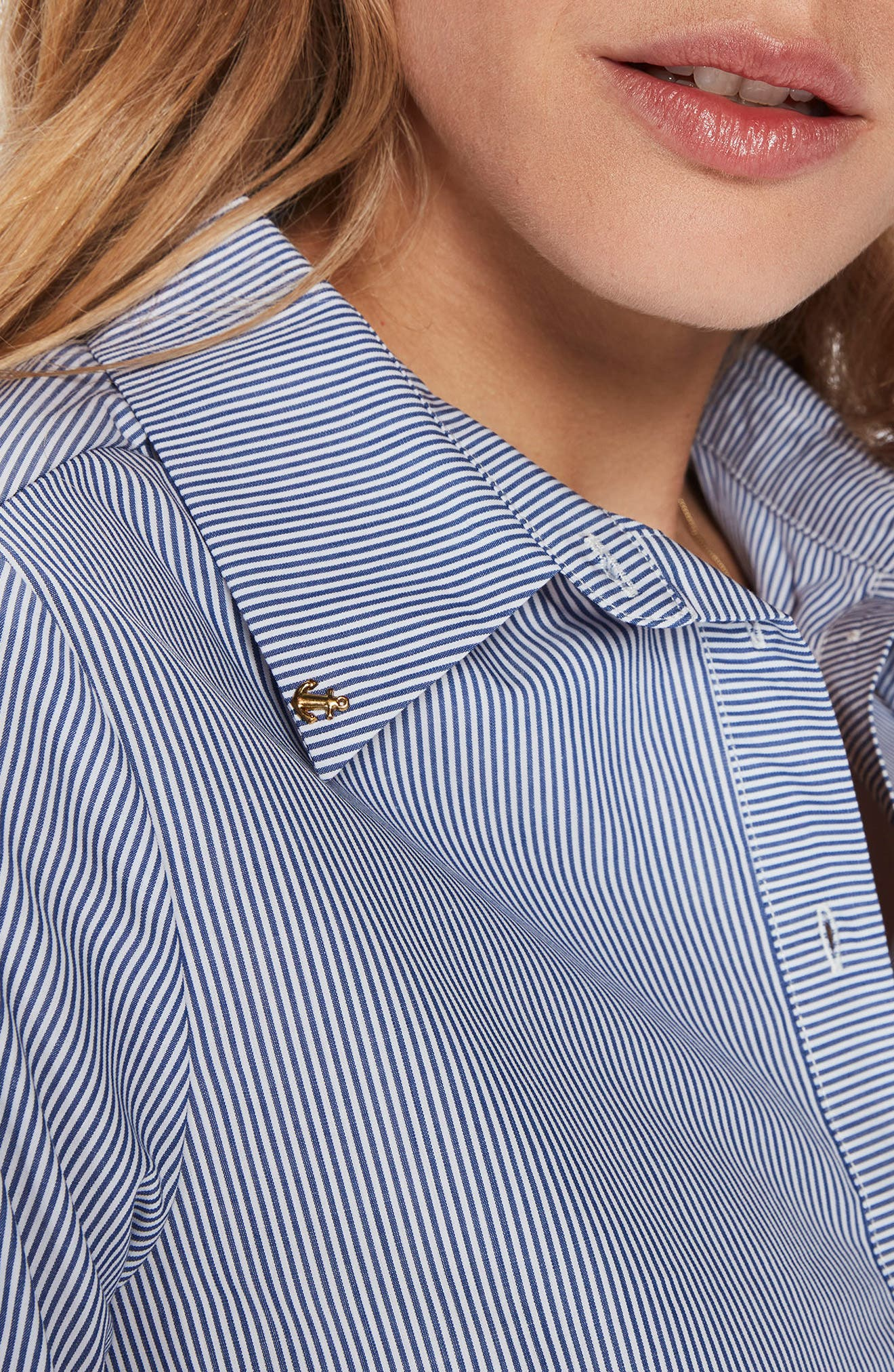 Bell Sleeve Shirt,                             Alternate thumbnail 5, color,                             Blue Thin Stripe