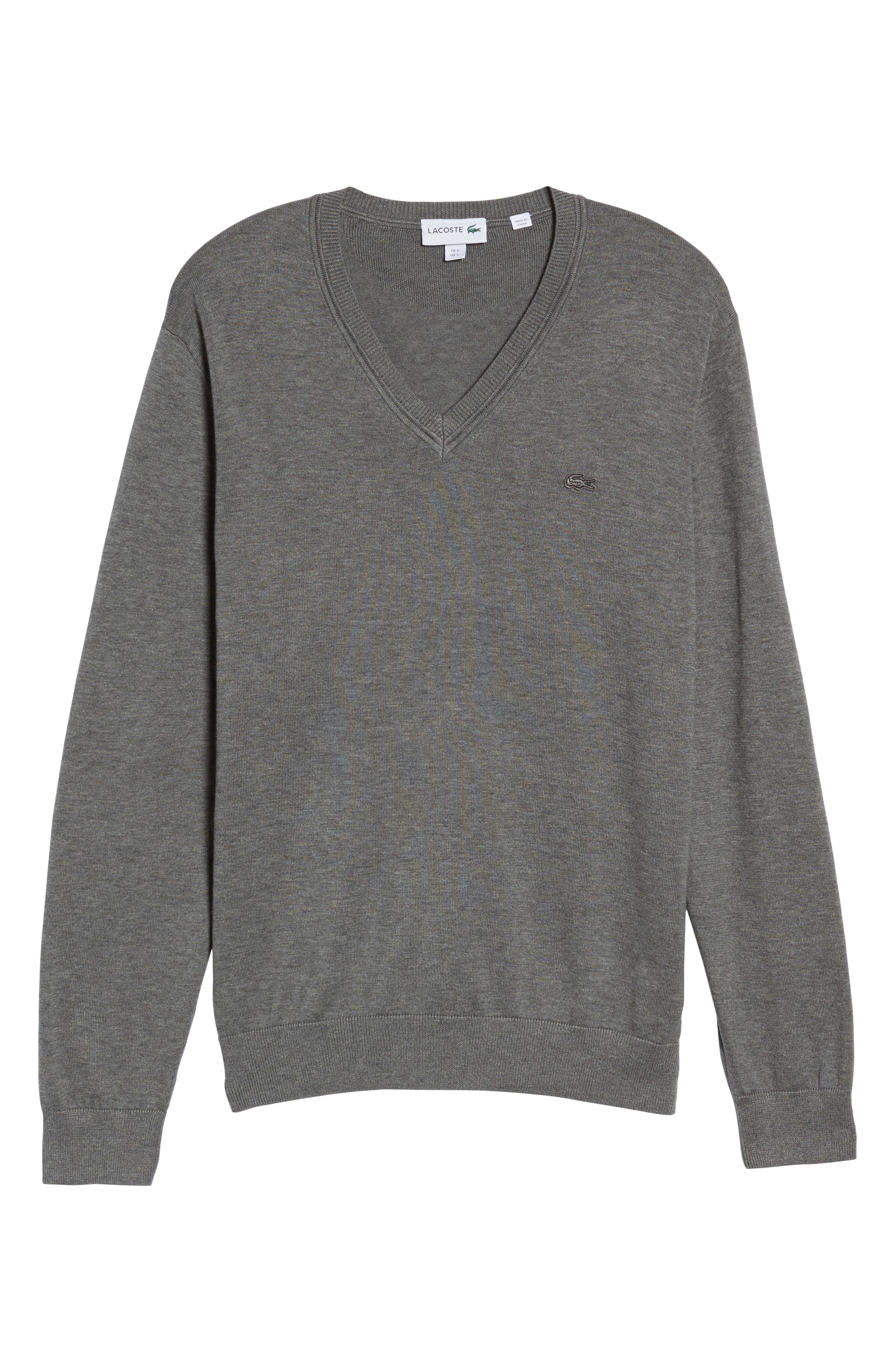 Cotton Jersey V-Neck Sweater,                             Alternate thumbnail 6, color,                             Galaxite