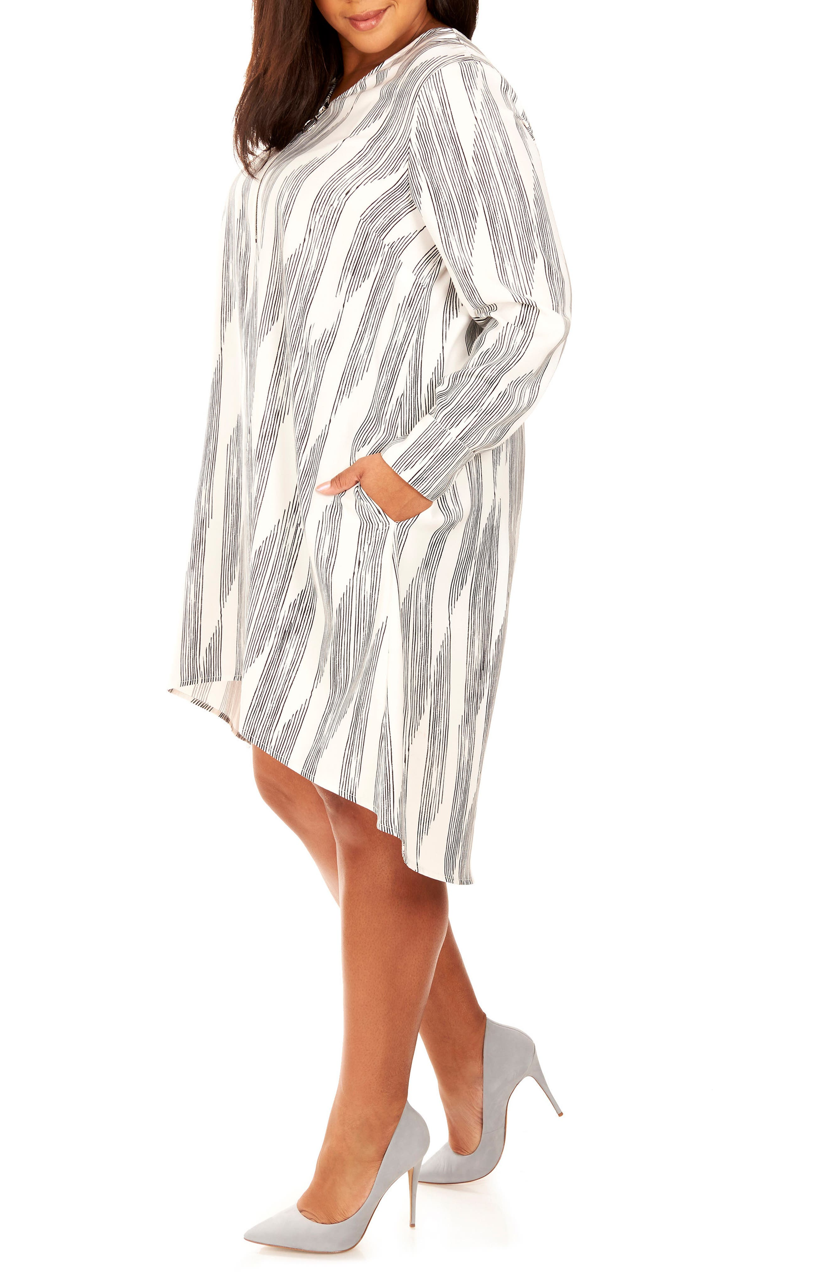 Zipper V-Neck Shift Dress,                             Alternate thumbnail 3, color,                             Pencil Lines