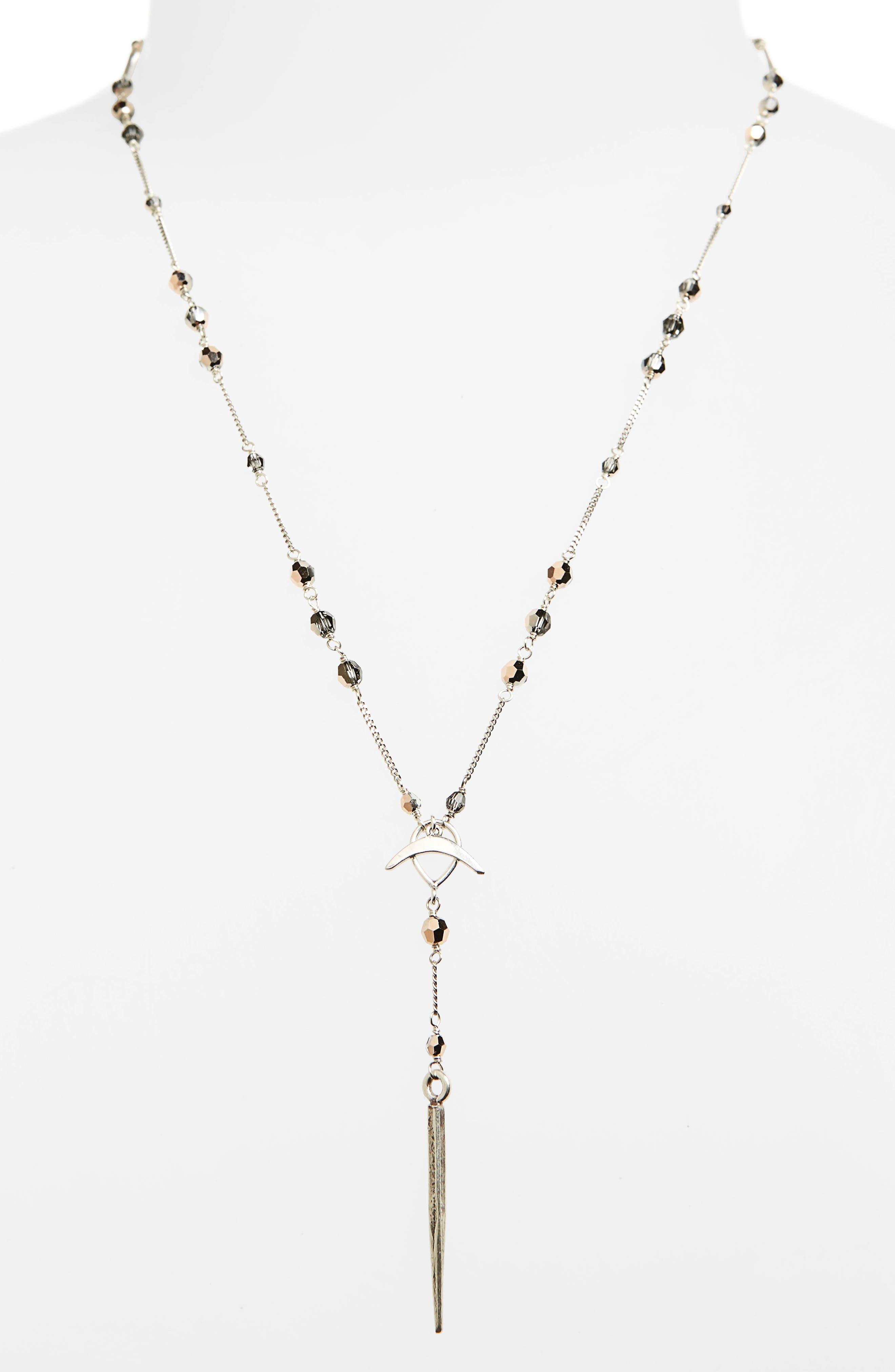 Swarovski Crystal Dagger Y-Necklace,                         Main,                         color, Rose Gold