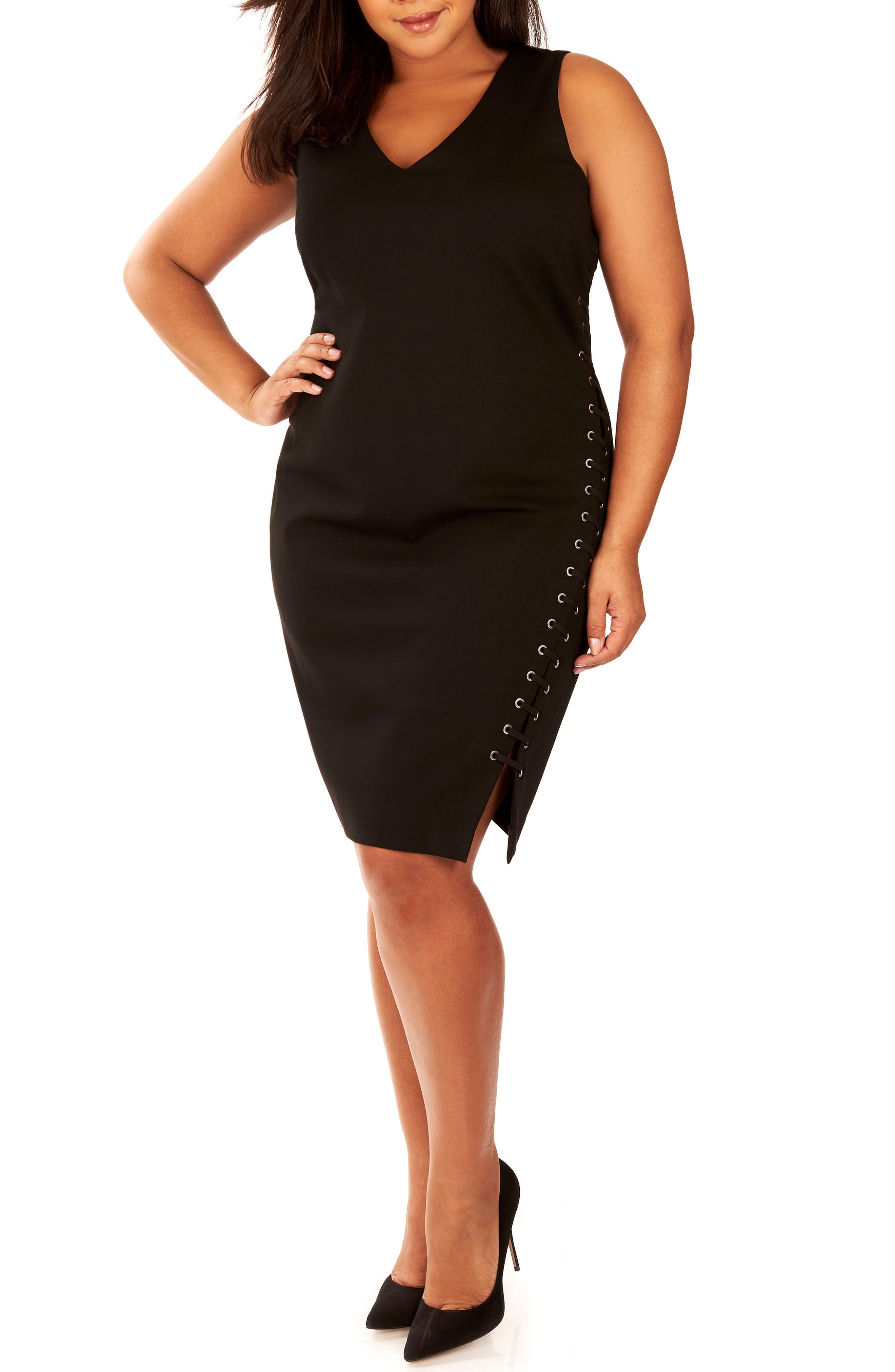 Lace-Up Body-Con Dress,                         Main,                         color, Black Beauty