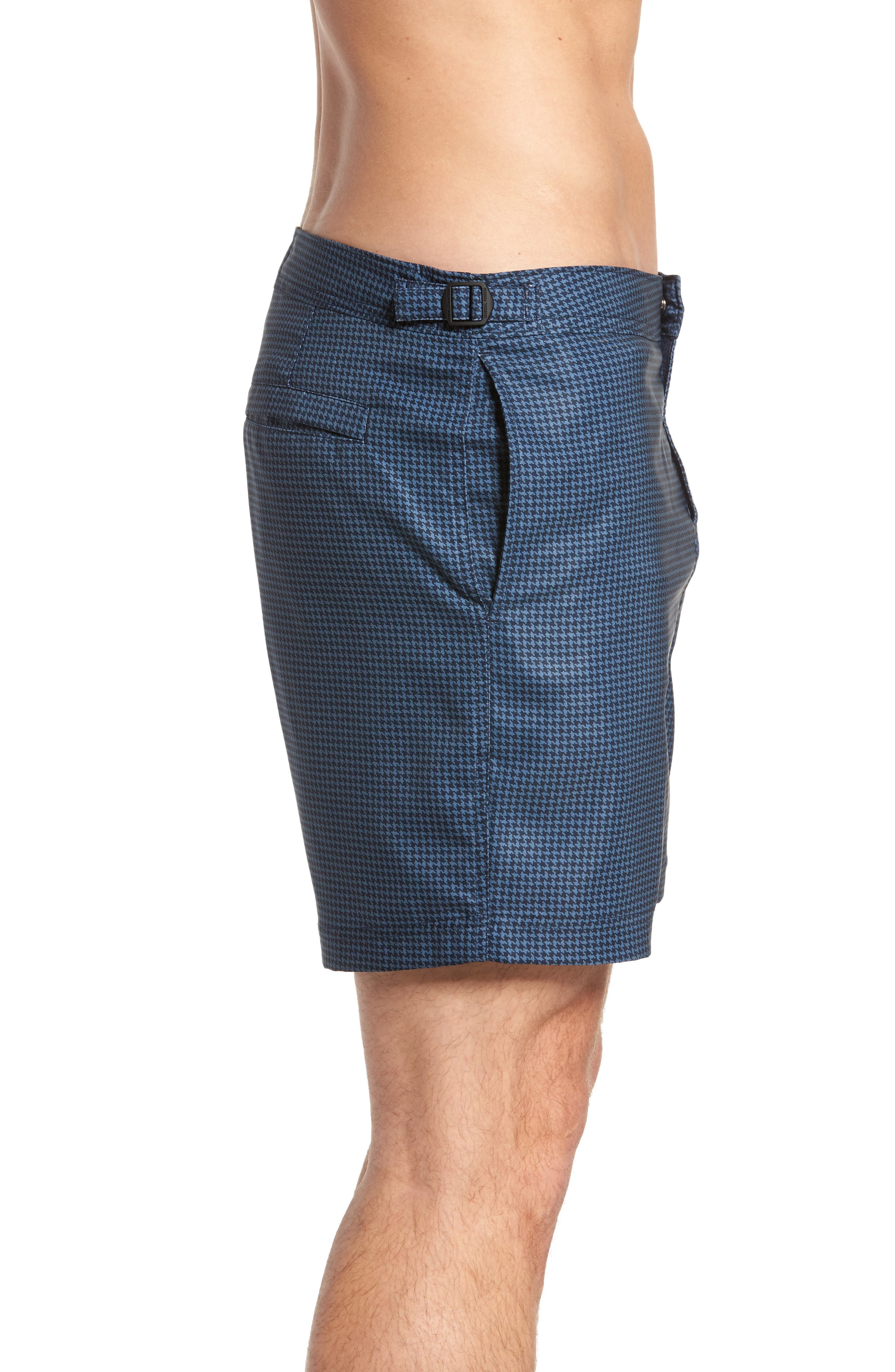 Houndstooth Stretch Volley Board Shorts,                             Alternate thumbnail 3, color,                             Dark Sapphire