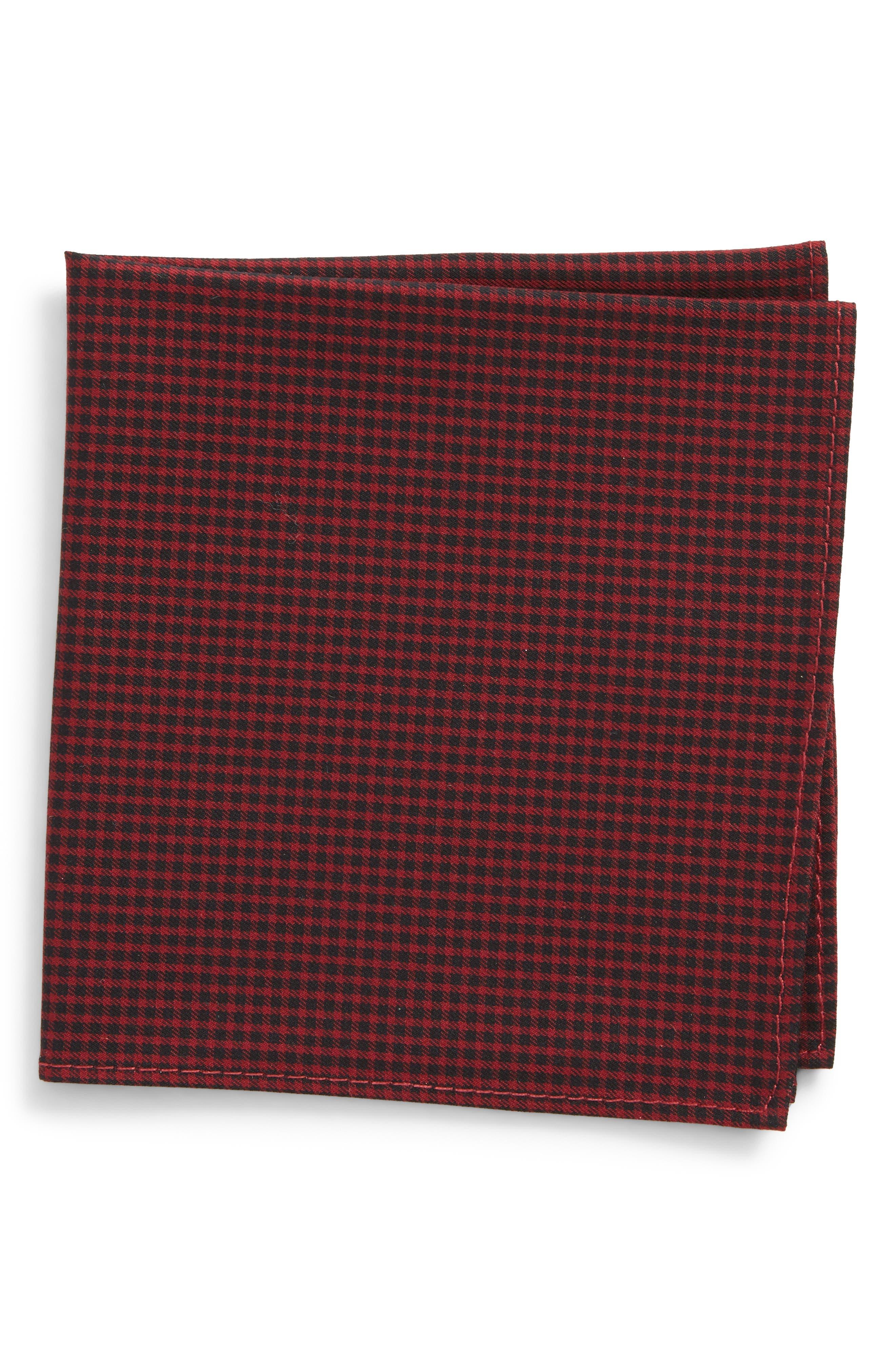Micro Check Pocket Square,                         Main,                         color, Wine