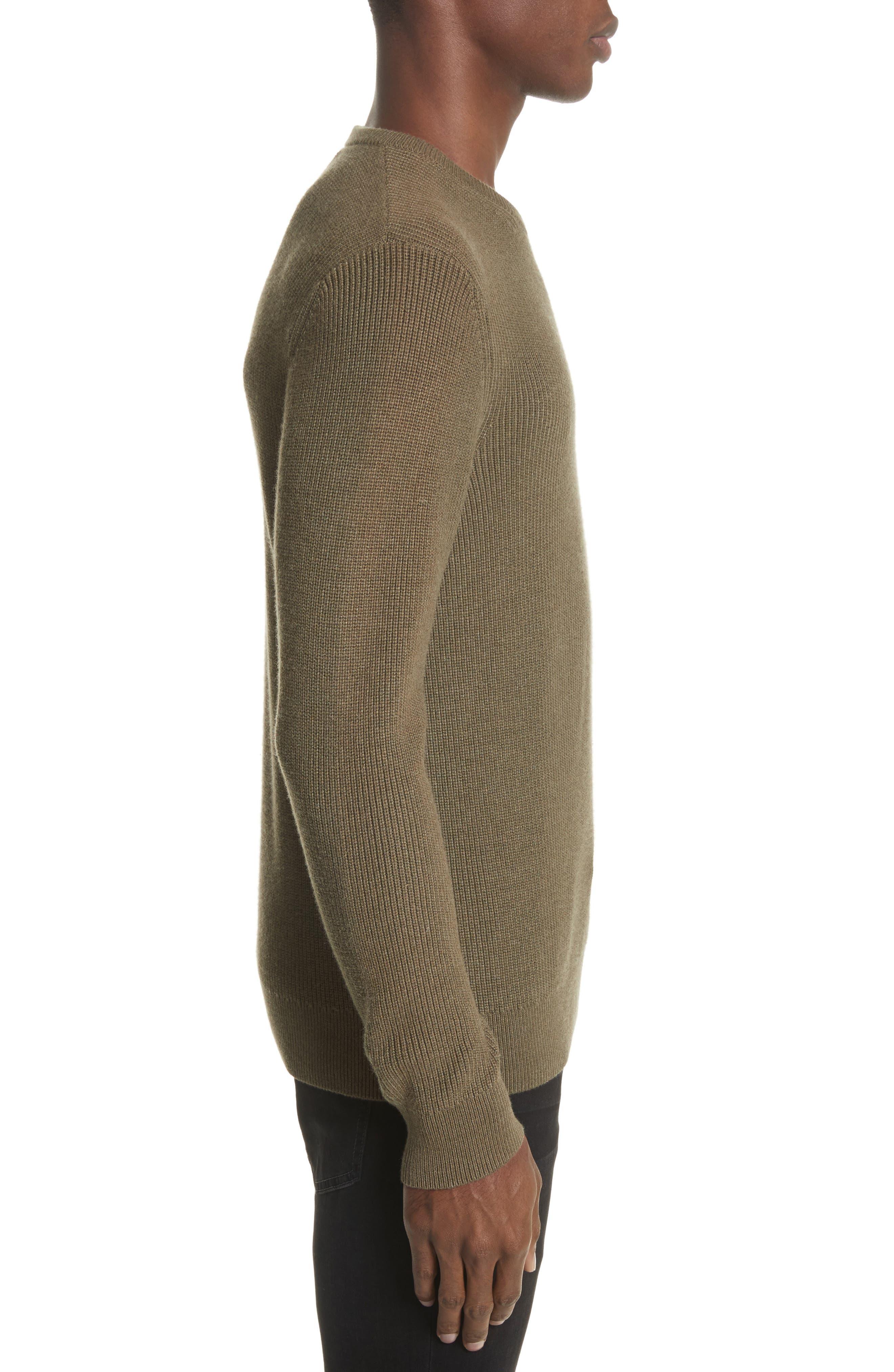 Crewneck Cotton Blend Sweater,                             Alternate thumbnail 3, color,                             Green