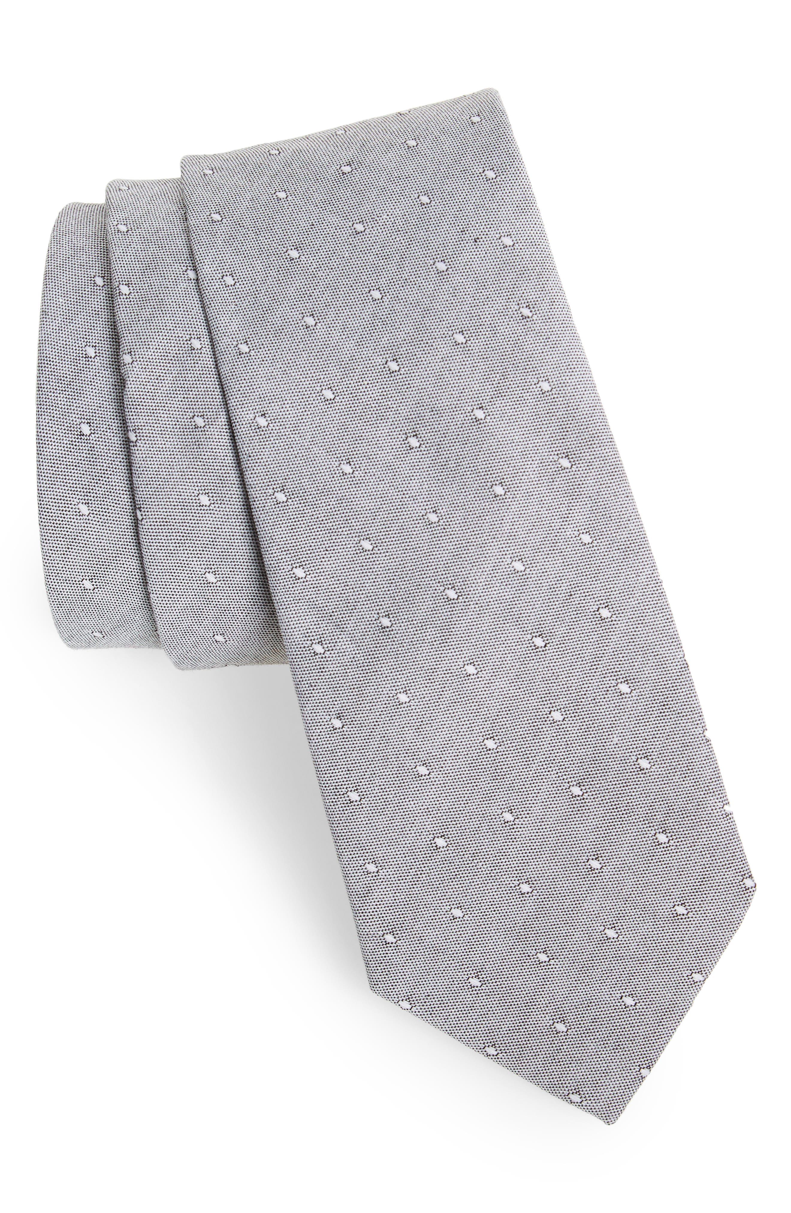 1901 Lantana Dot Cotton Skinny Tie