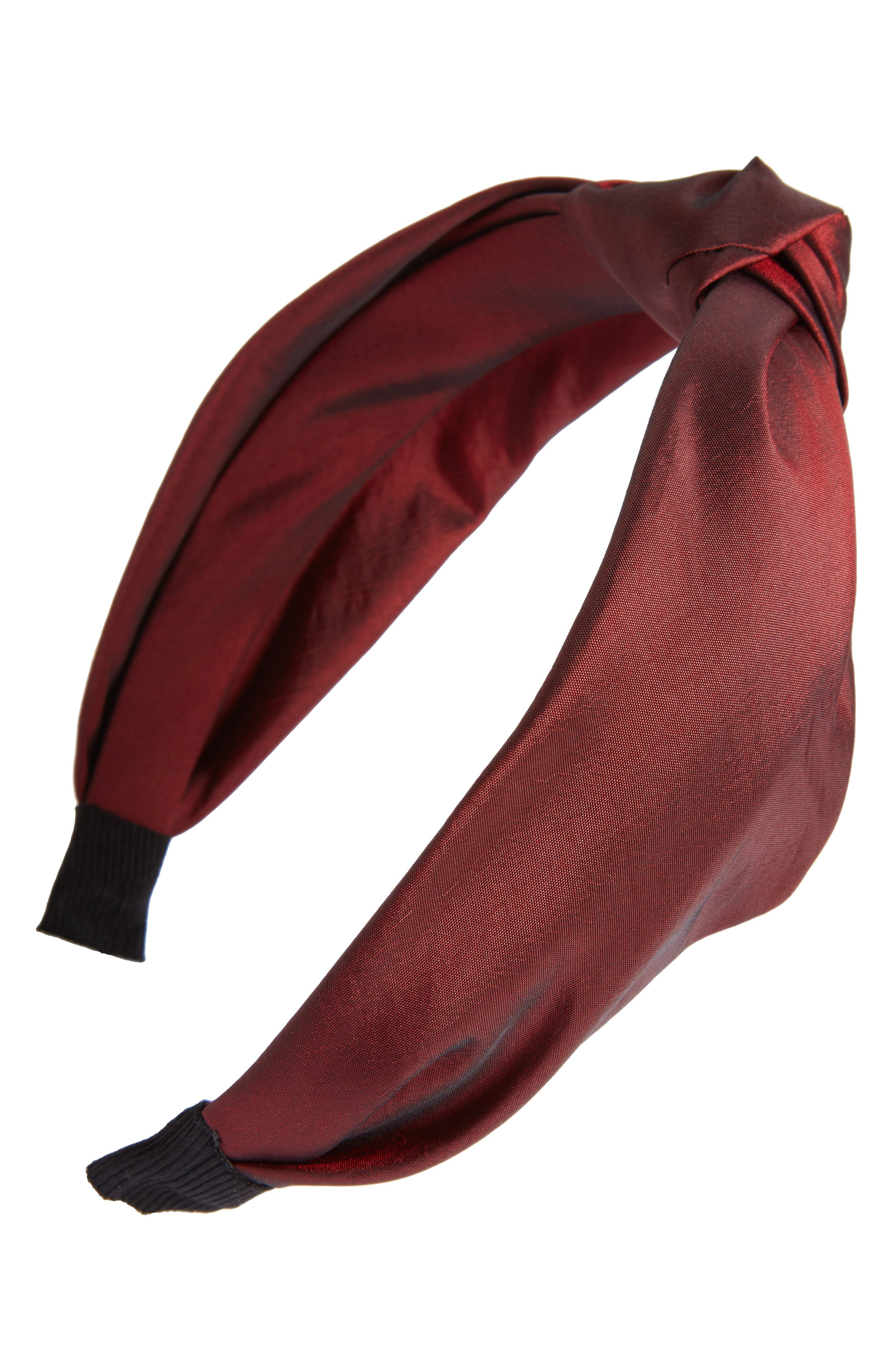 Knotted Taffeta Headband,                         Main,                         color, Burgundy