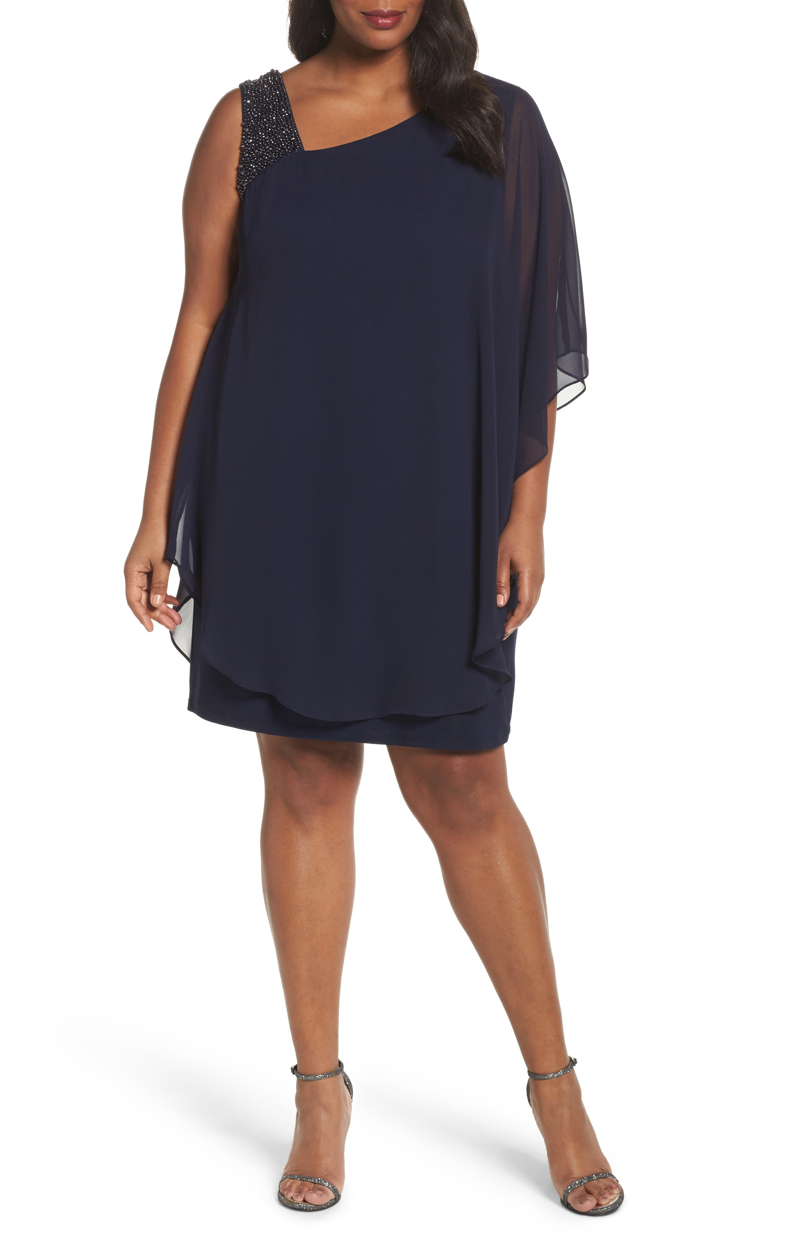 Alternate Image 1 Selected - Xscape Embellished One-Shoulder Overlay Cocktail Dress (Plus Size)