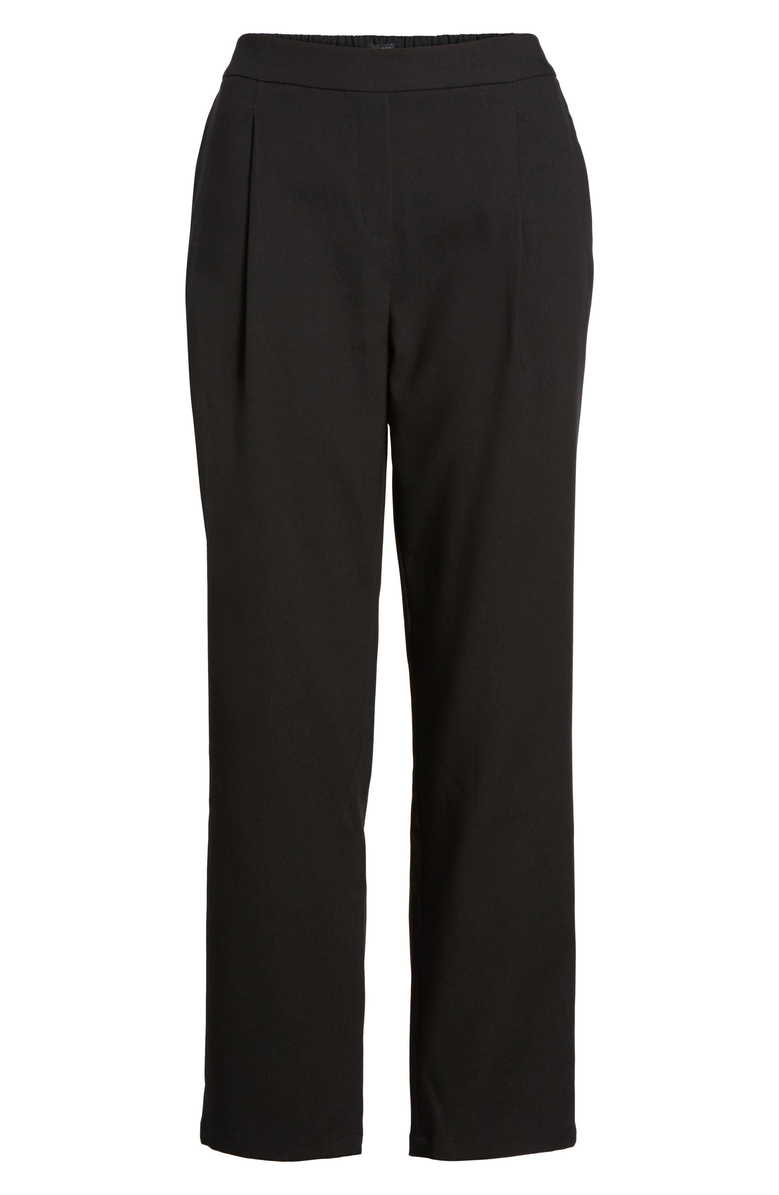 Twill Ankle Pants,                             Alternate thumbnail 6, color,                             Black