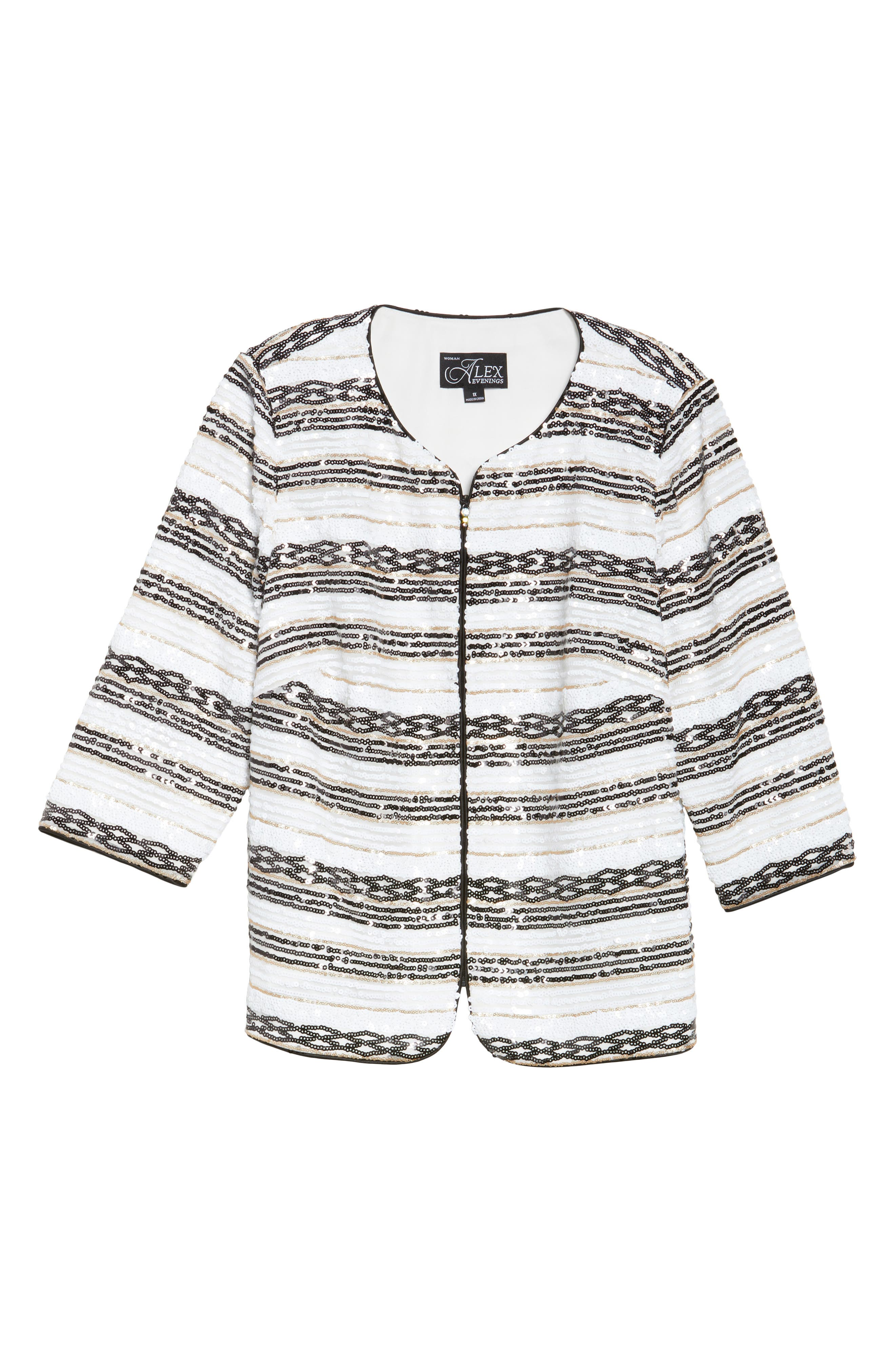 Sequin Stripe Jacket,                             Alternate thumbnail 6, color,                             White/ Black