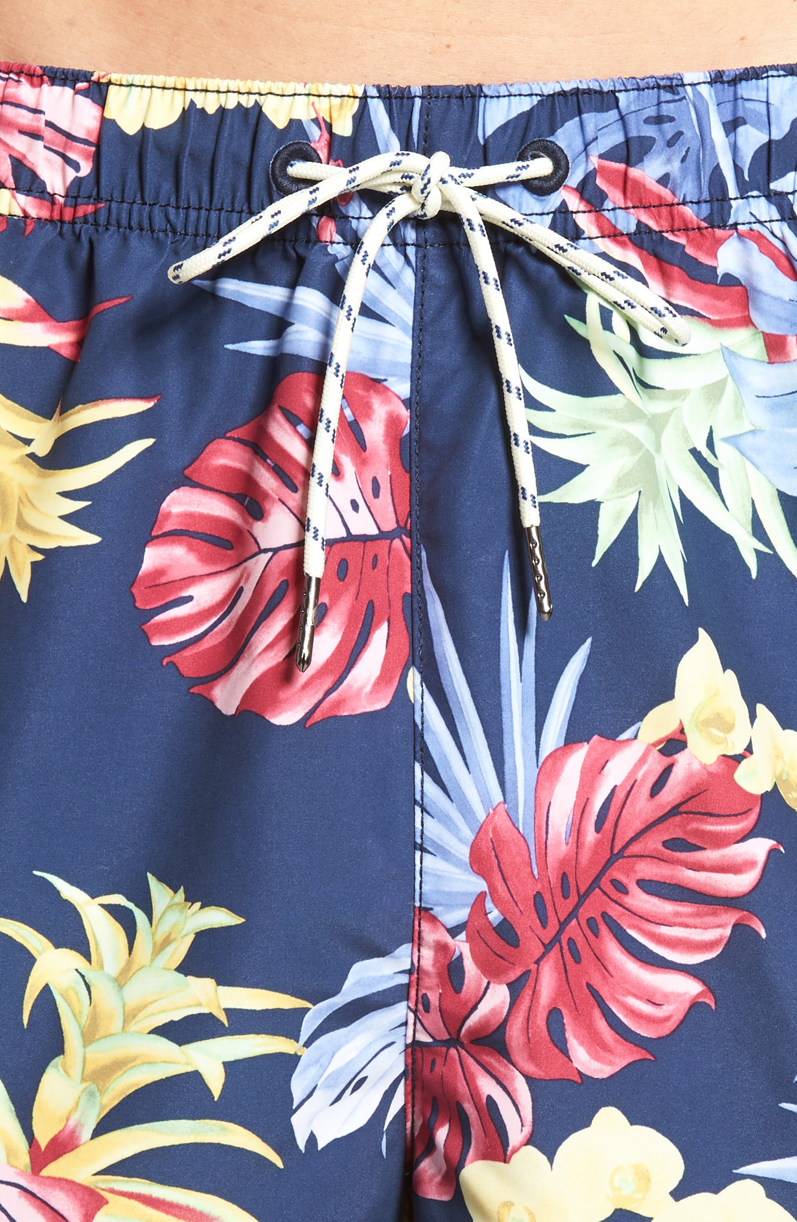 Naples Bogart Blooms Swim Trunks,                             Alternate thumbnail 4, color,                             Ocean Deep