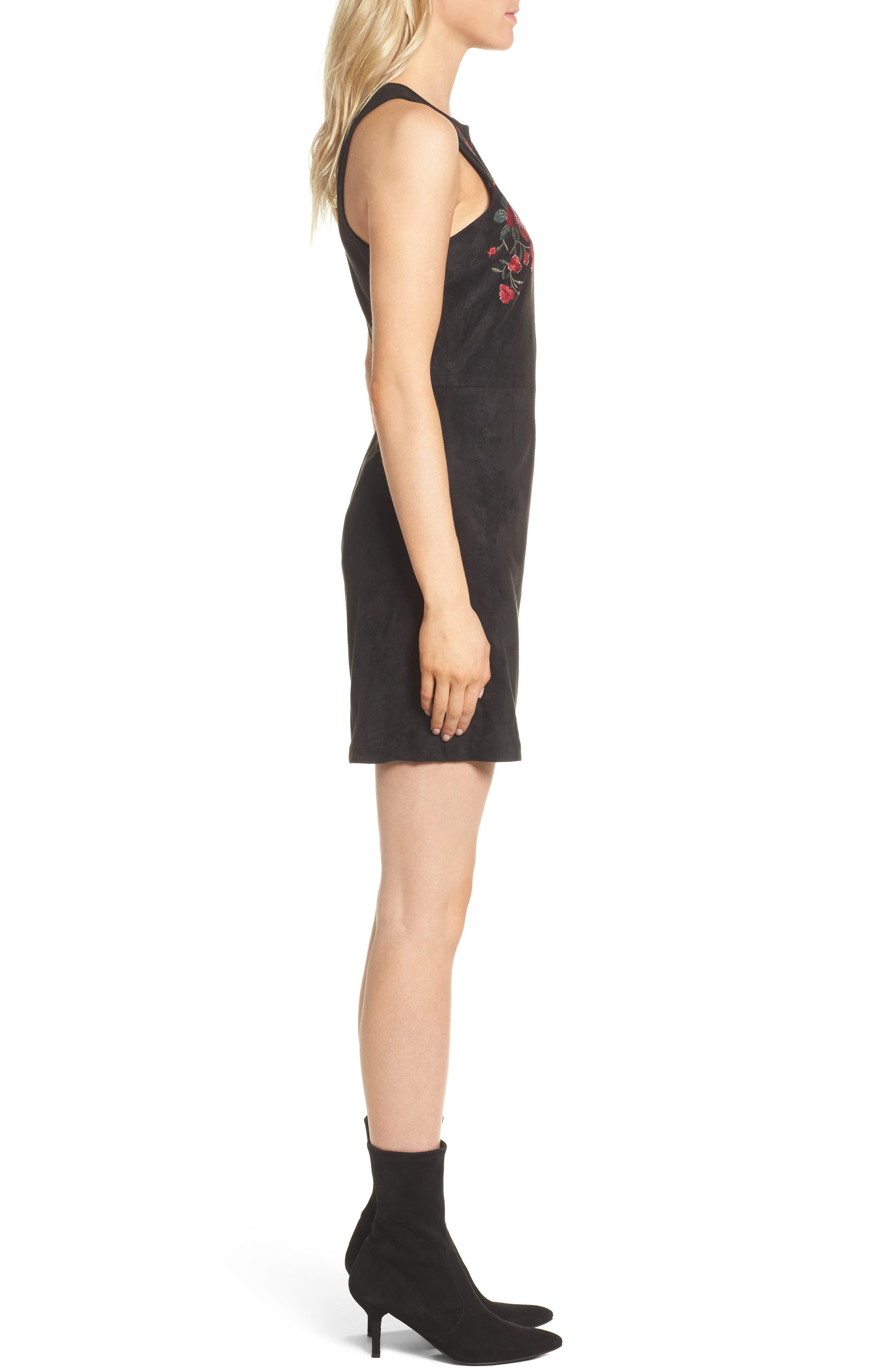 Valet Embroidered Minidress,                             Alternate thumbnail 3, color,                             Black
