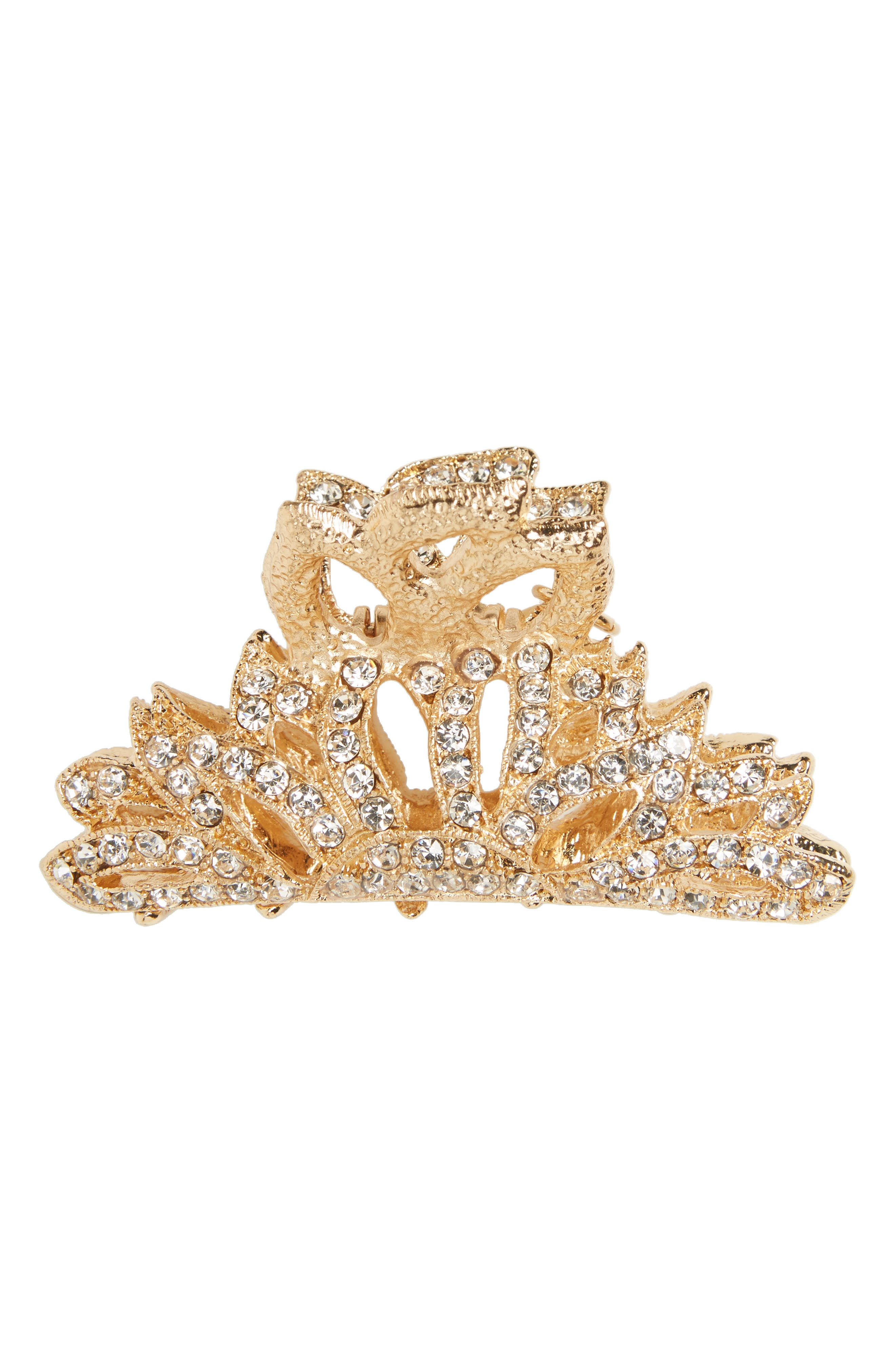 Crystal Jaw Clip,                         Main,                         color, Gold