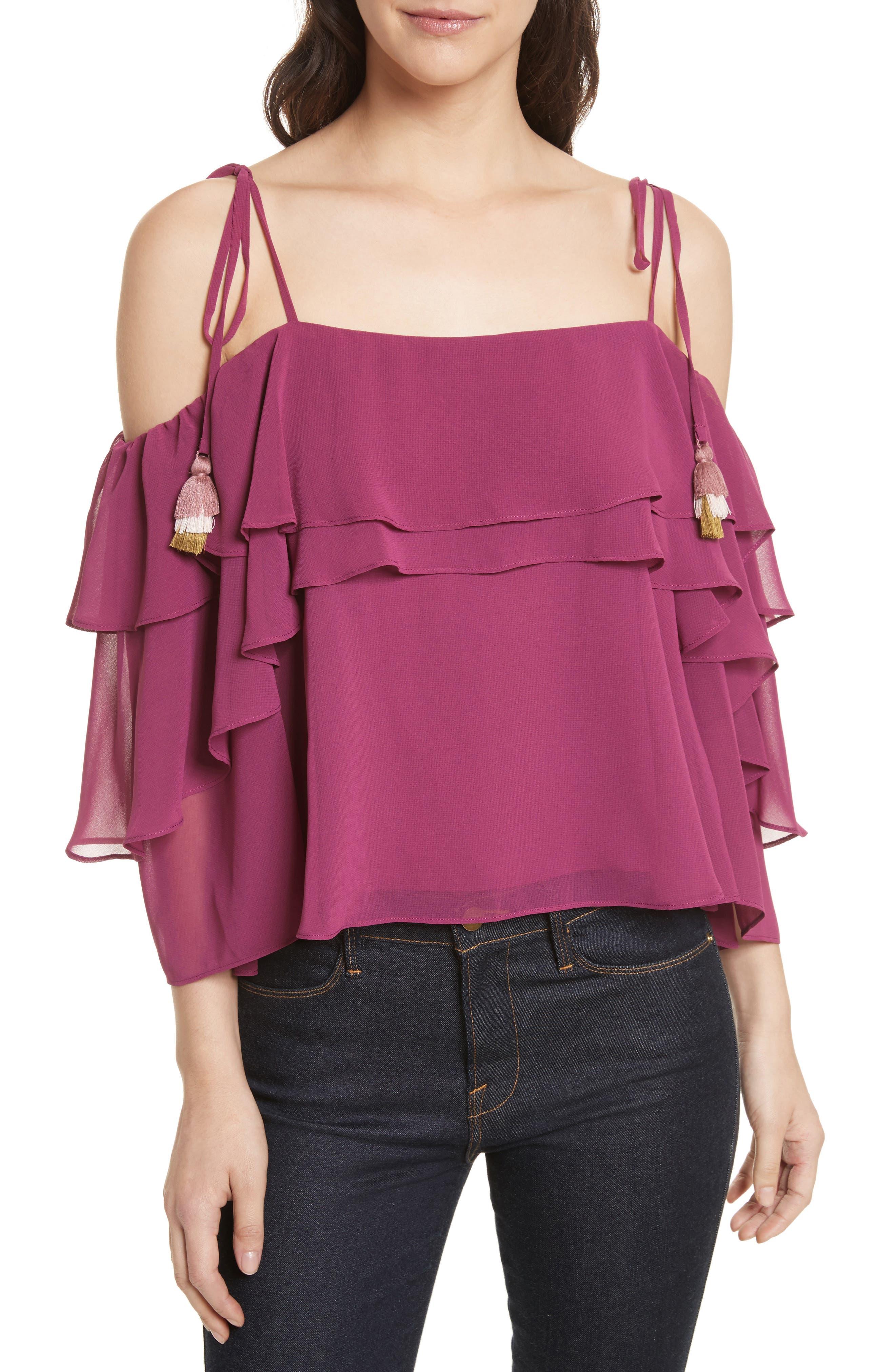 Dena Ruffle Top,                         Main,                         color, Raspberry