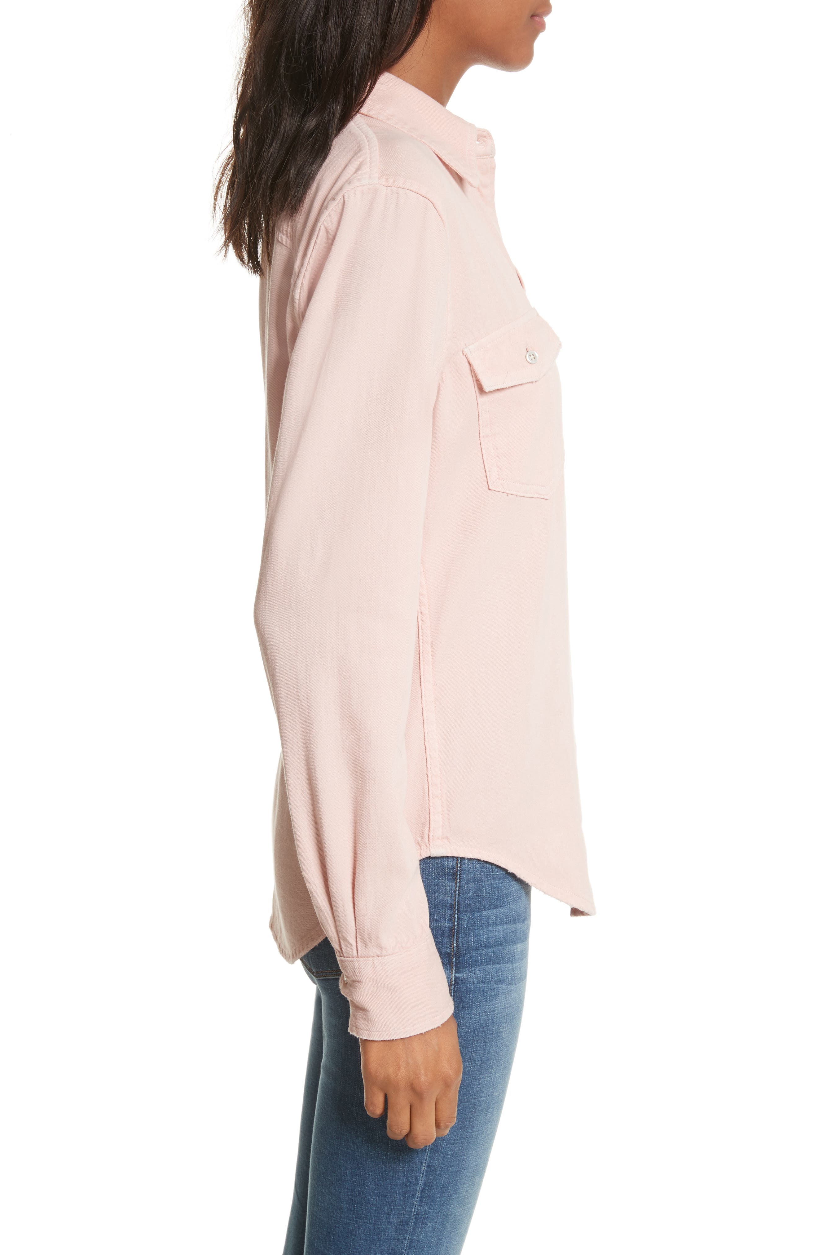 Denim Military Shirt,                             Alternate thumbnail 3, color,                             Faded Light Pink Exclusive