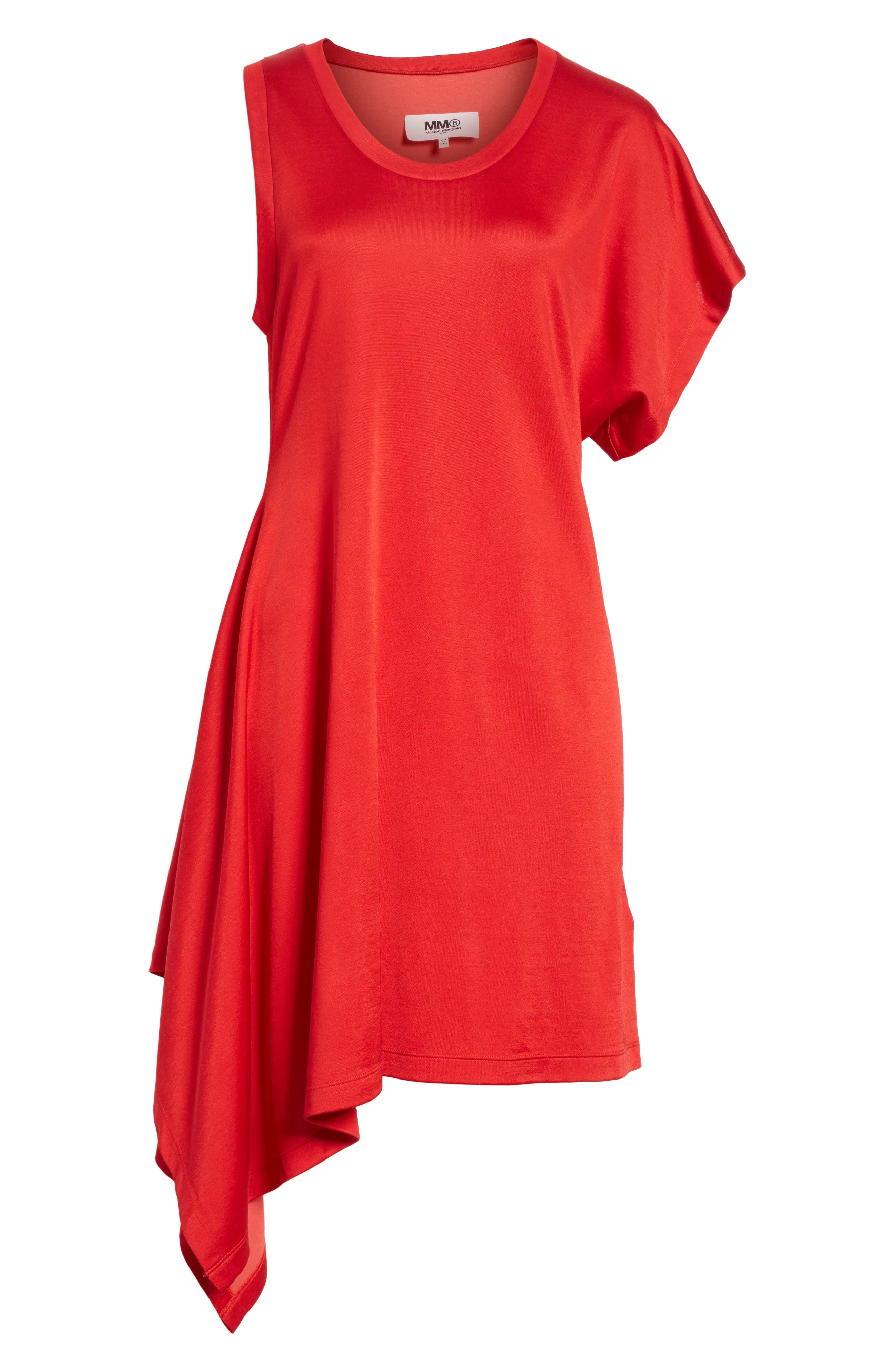 Sporty Asymmetrical Jersey Dress,                             Alternate thumbnail 6, color,                             Red