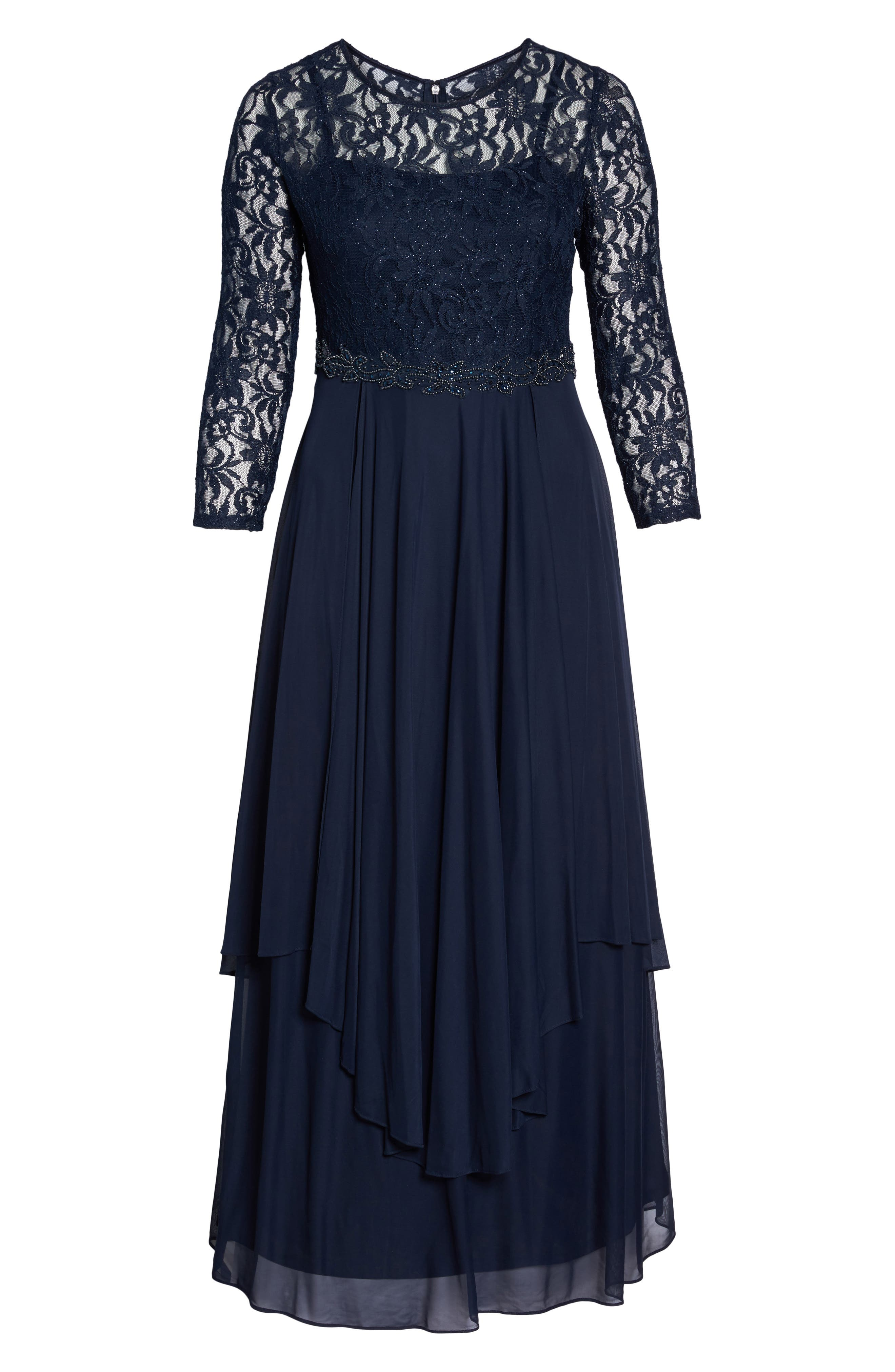 Alternate Image 6  - Decode 1.8 Lace & Mesh Gown (Plus Size)