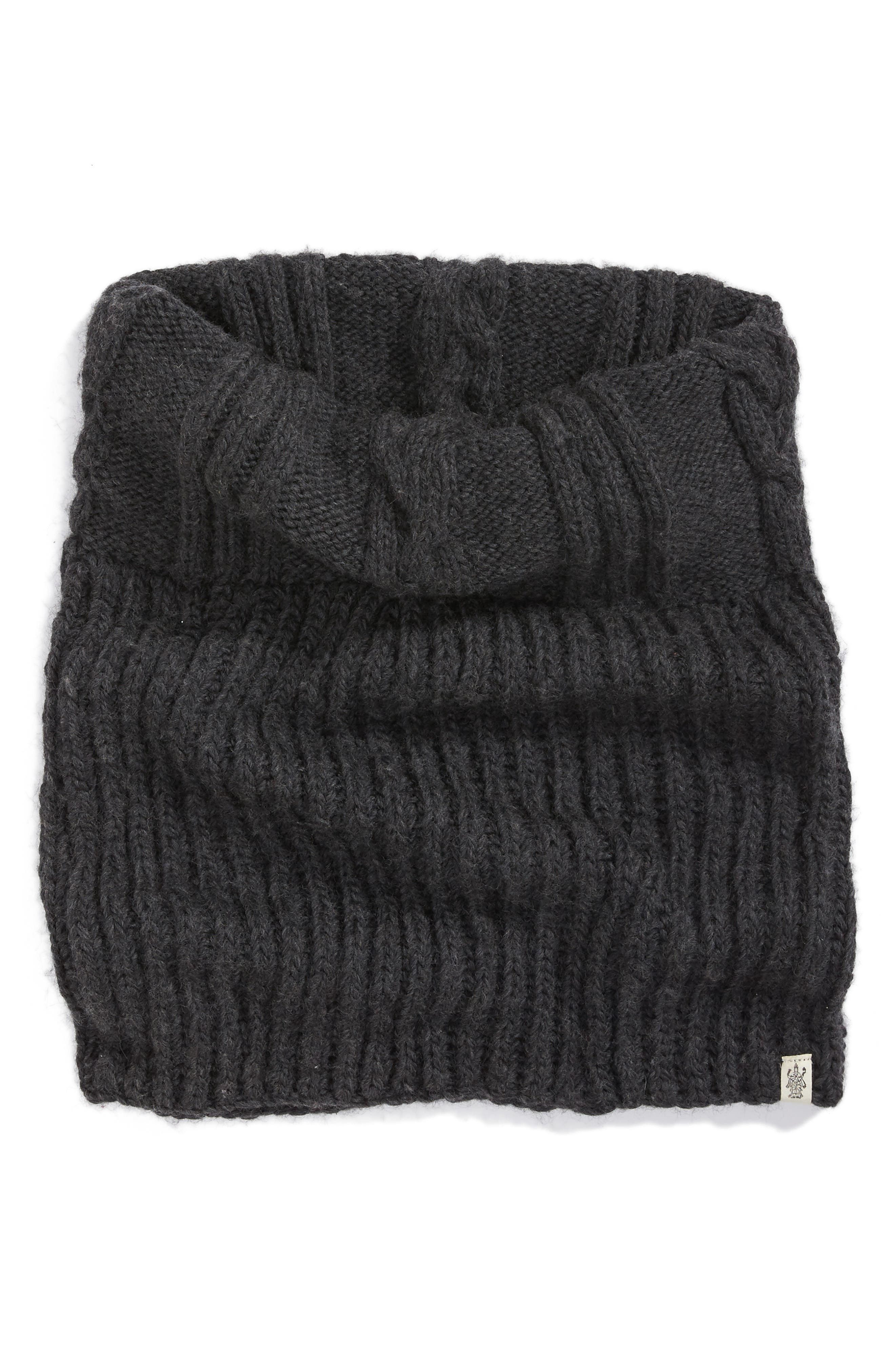 Oversize Cable Knit Wool Infinity Scarf,                         Main,                         color, Charcoal