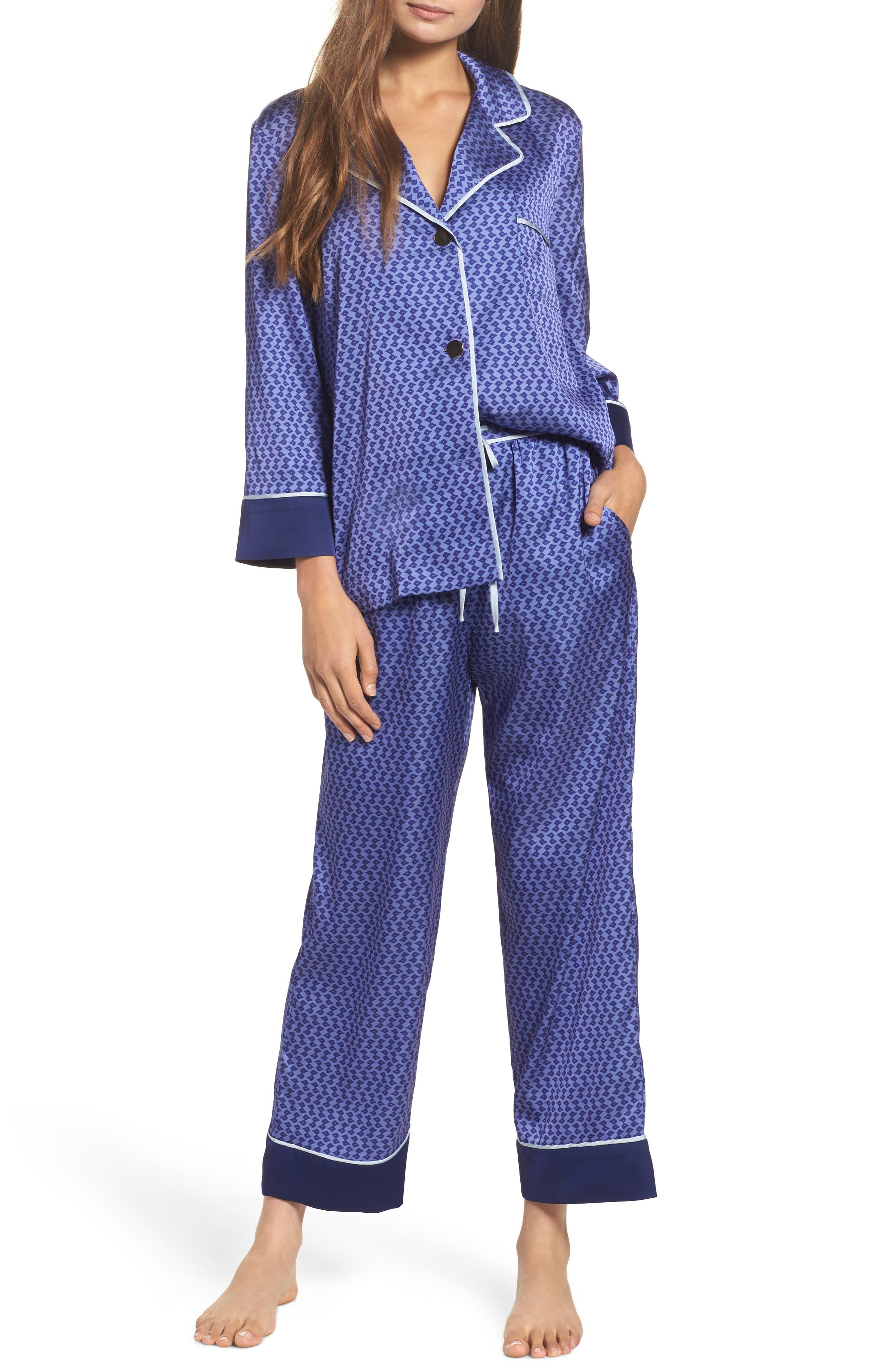 Satin Crop Pajamas,                             Main thumbnail 1, color,                             Dark Purple