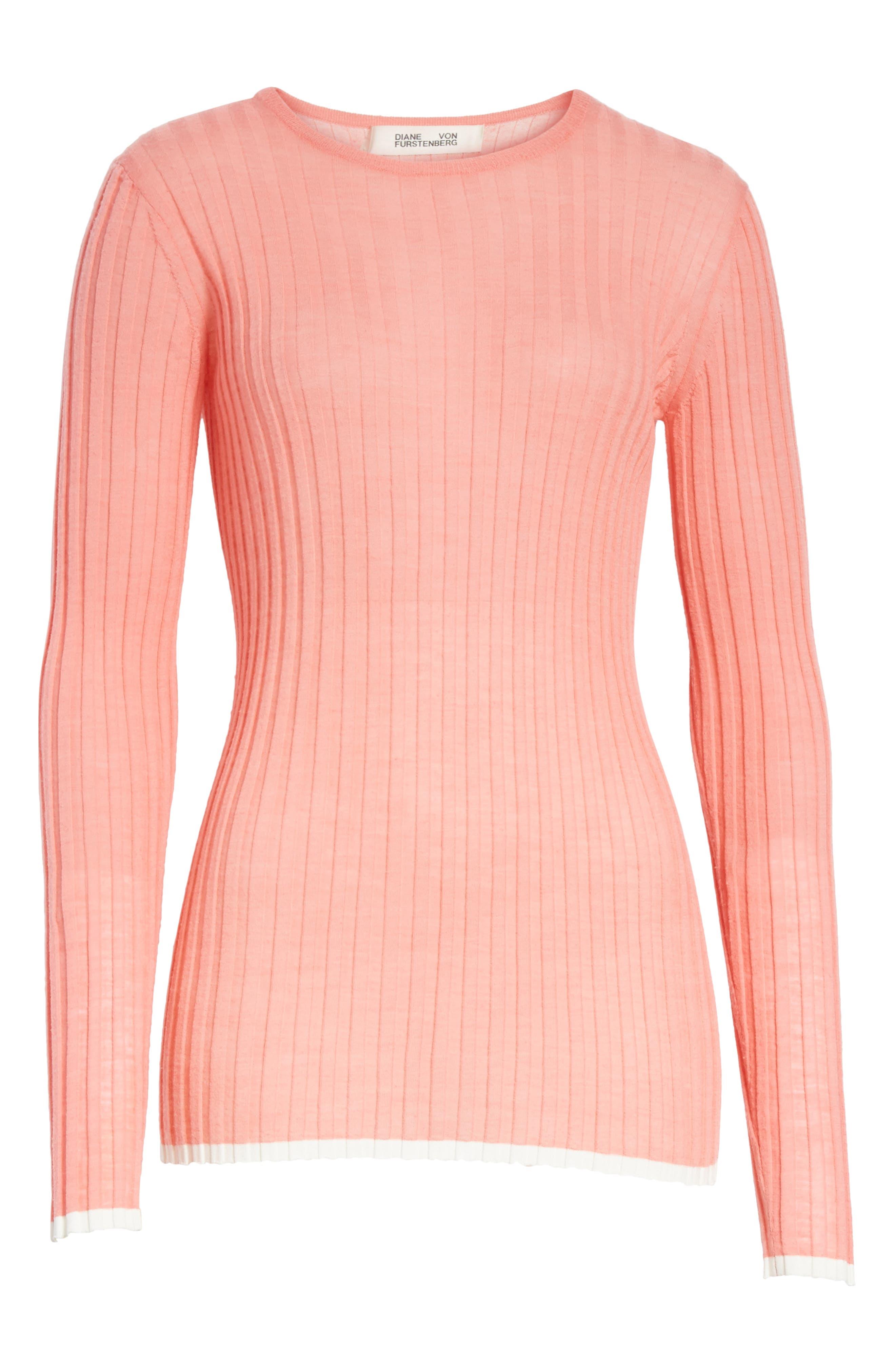 Diane von Furstenberg Ribbed Sweater,                             Alternate thumbnail 6, color,                             Hyacinth/ Ivory