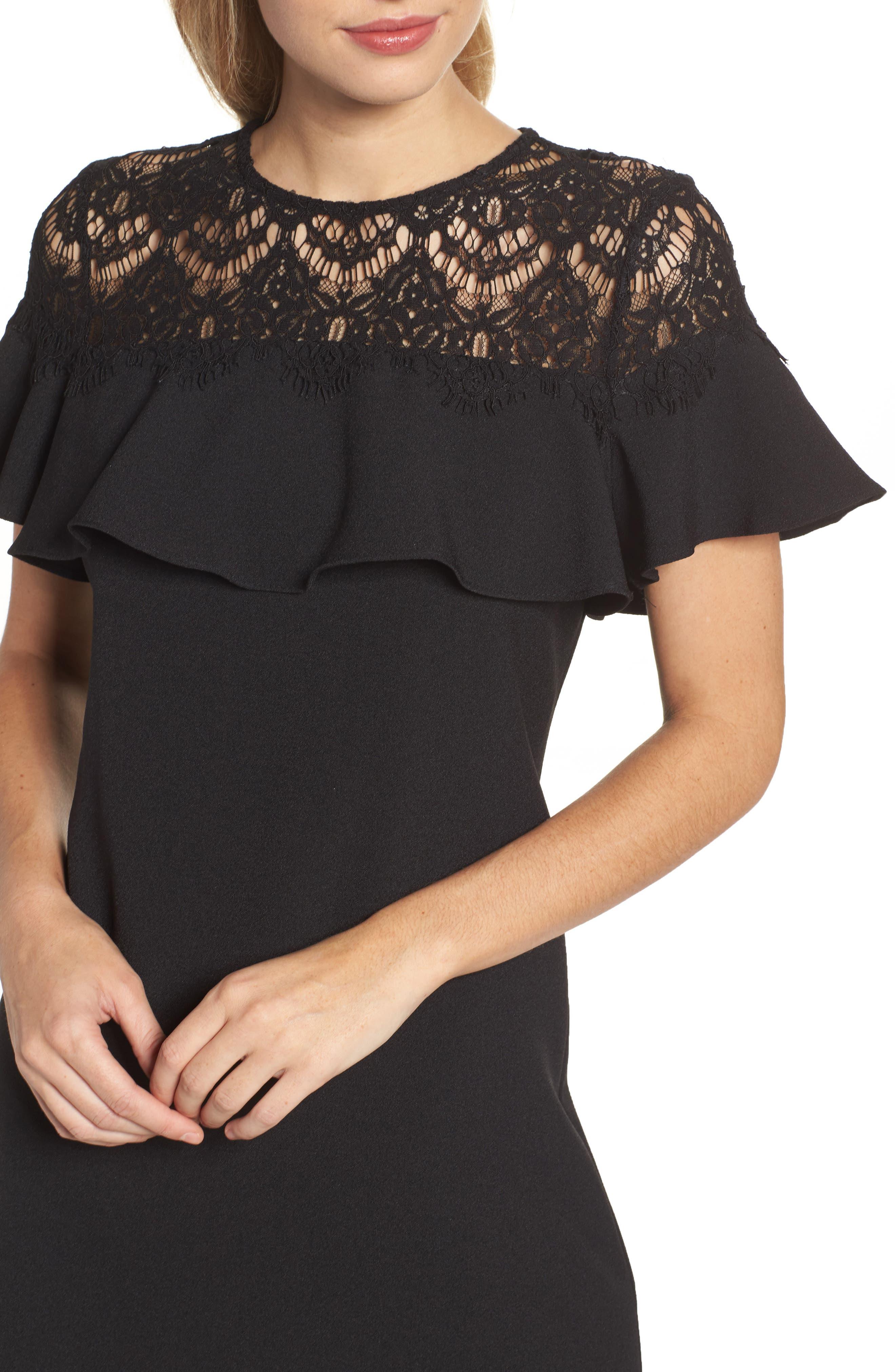 Lace Ruffle Sheath Dress,                             Alternate thumbnail 4, color,                             Black