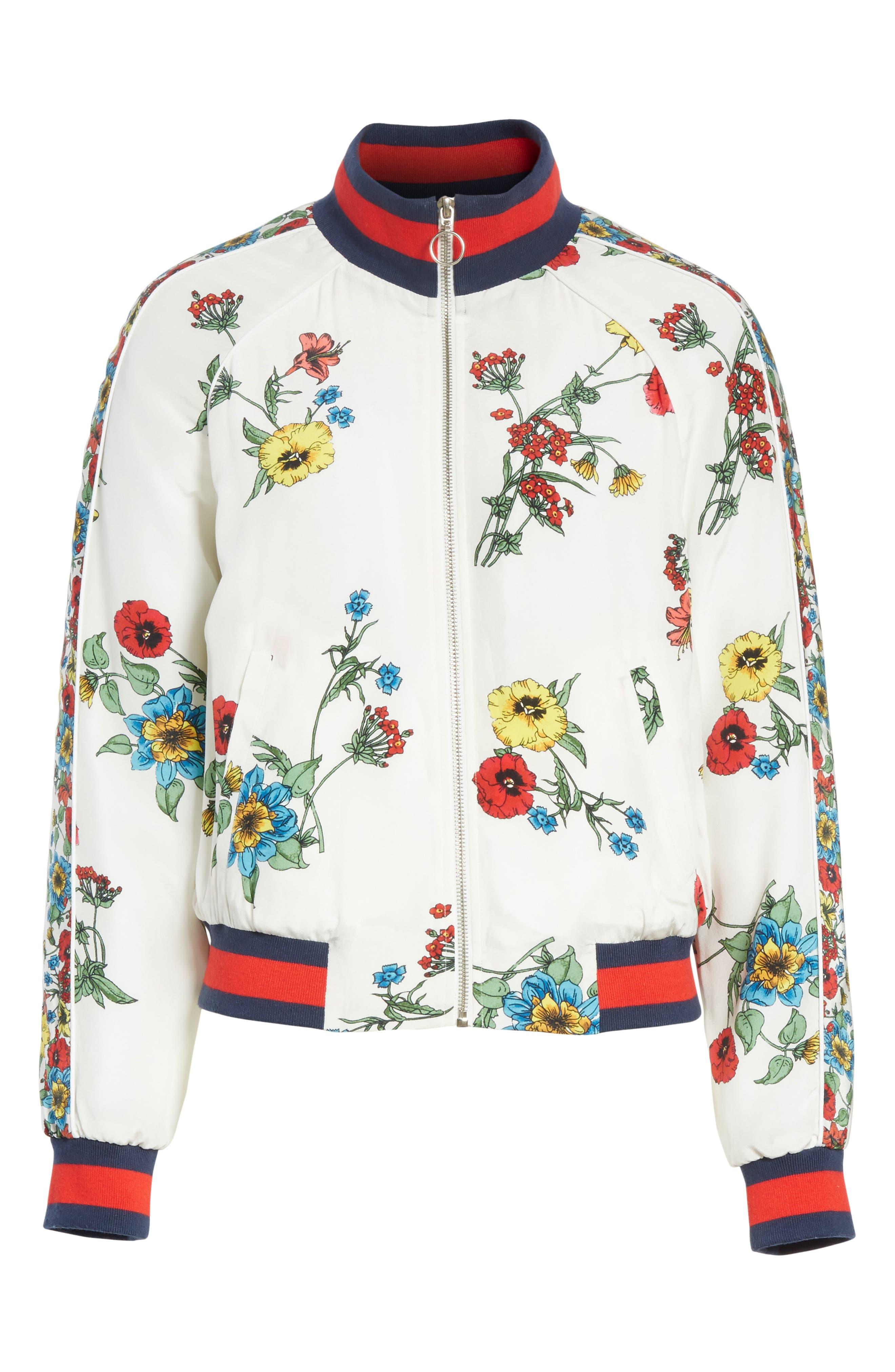 Avariella Silk Bomber Jacket,                             Alternate thumbnail 6, color,                             Porcelain