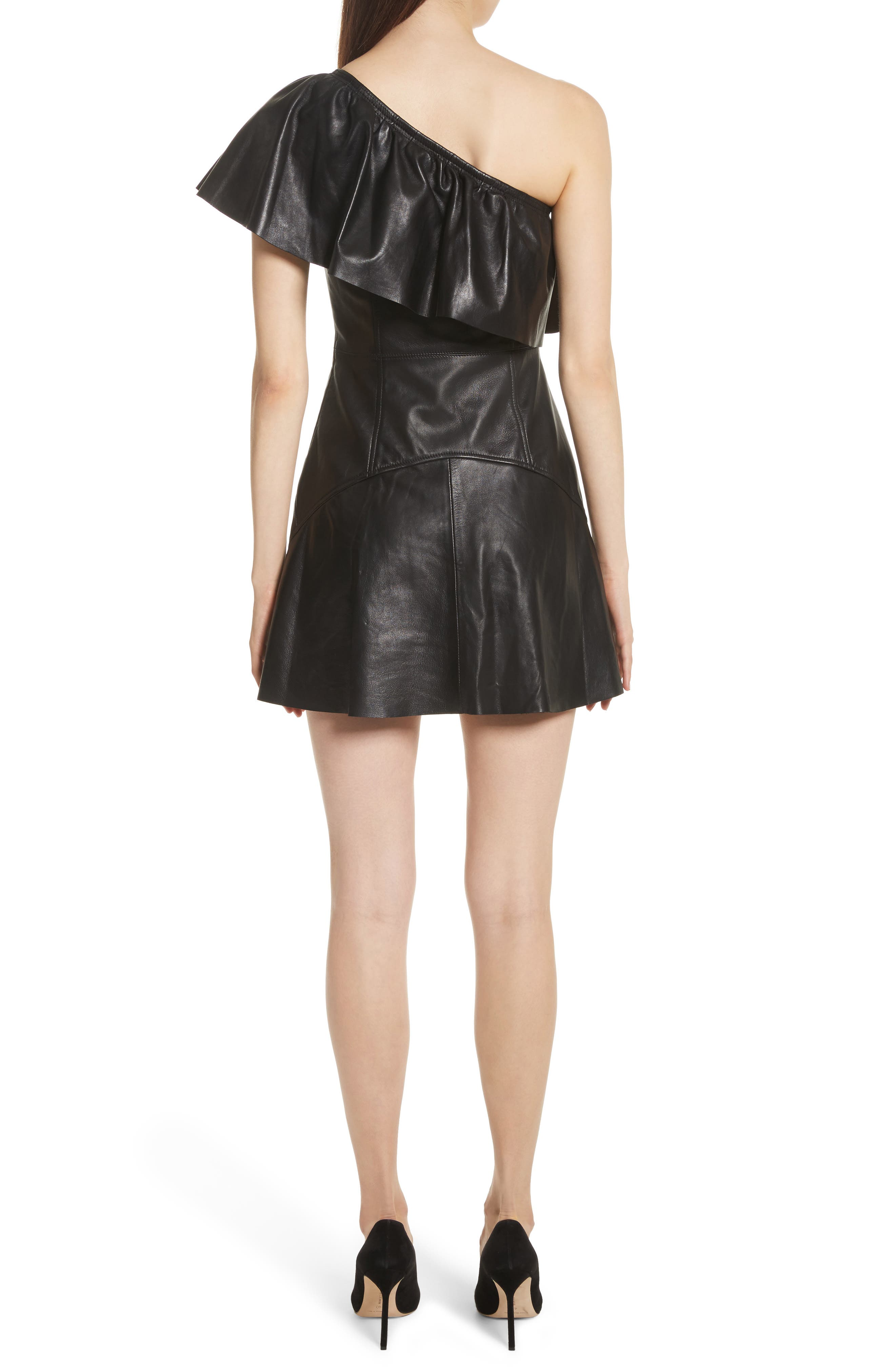 Kahlo Ruffle One-Shoulder Leather Dress,                             Alternate thumbnail 2, color,                             Black