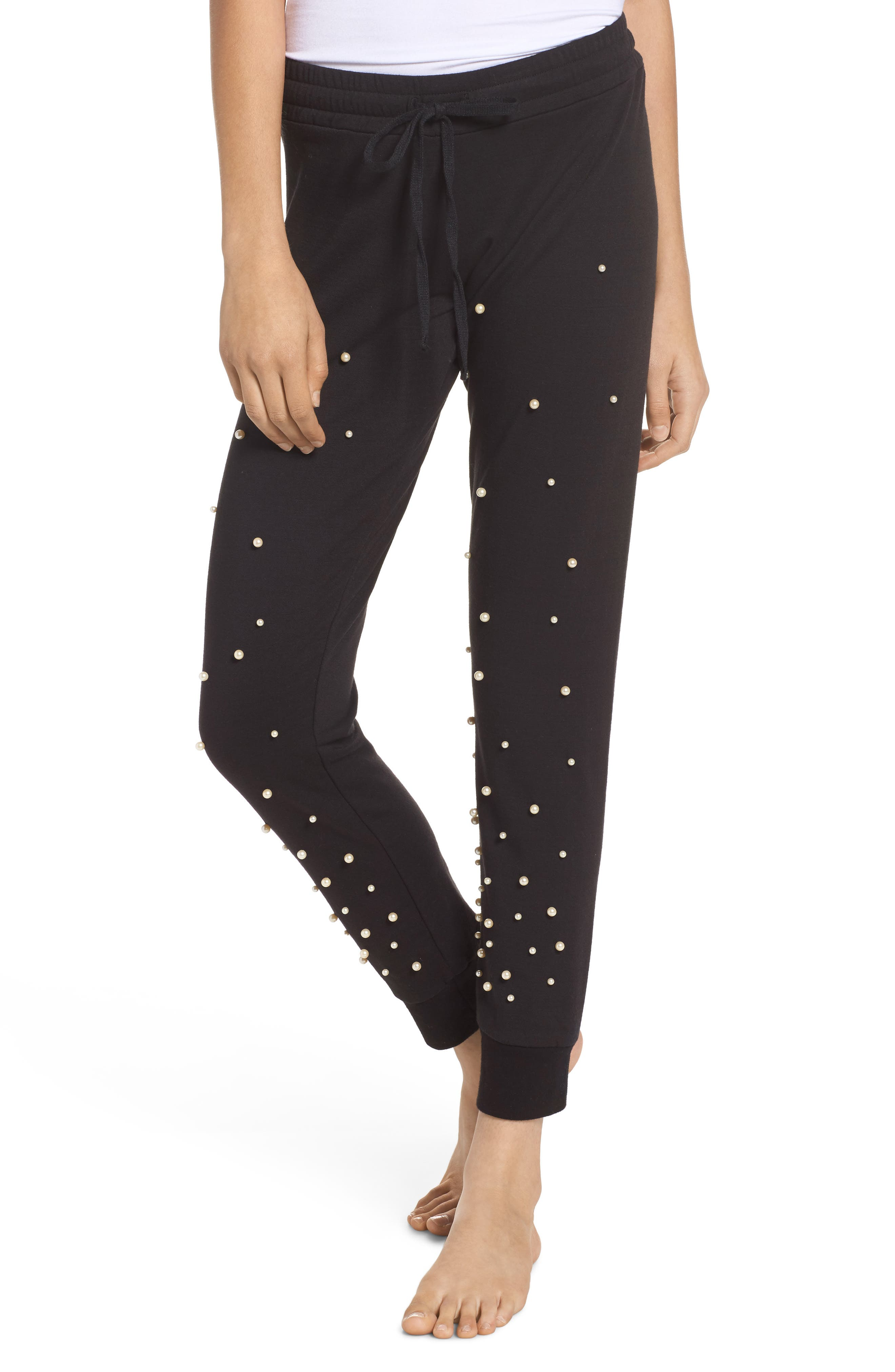 Price Imitation Pearl Embellished Lounge Pants,                         Main,                         color, Black