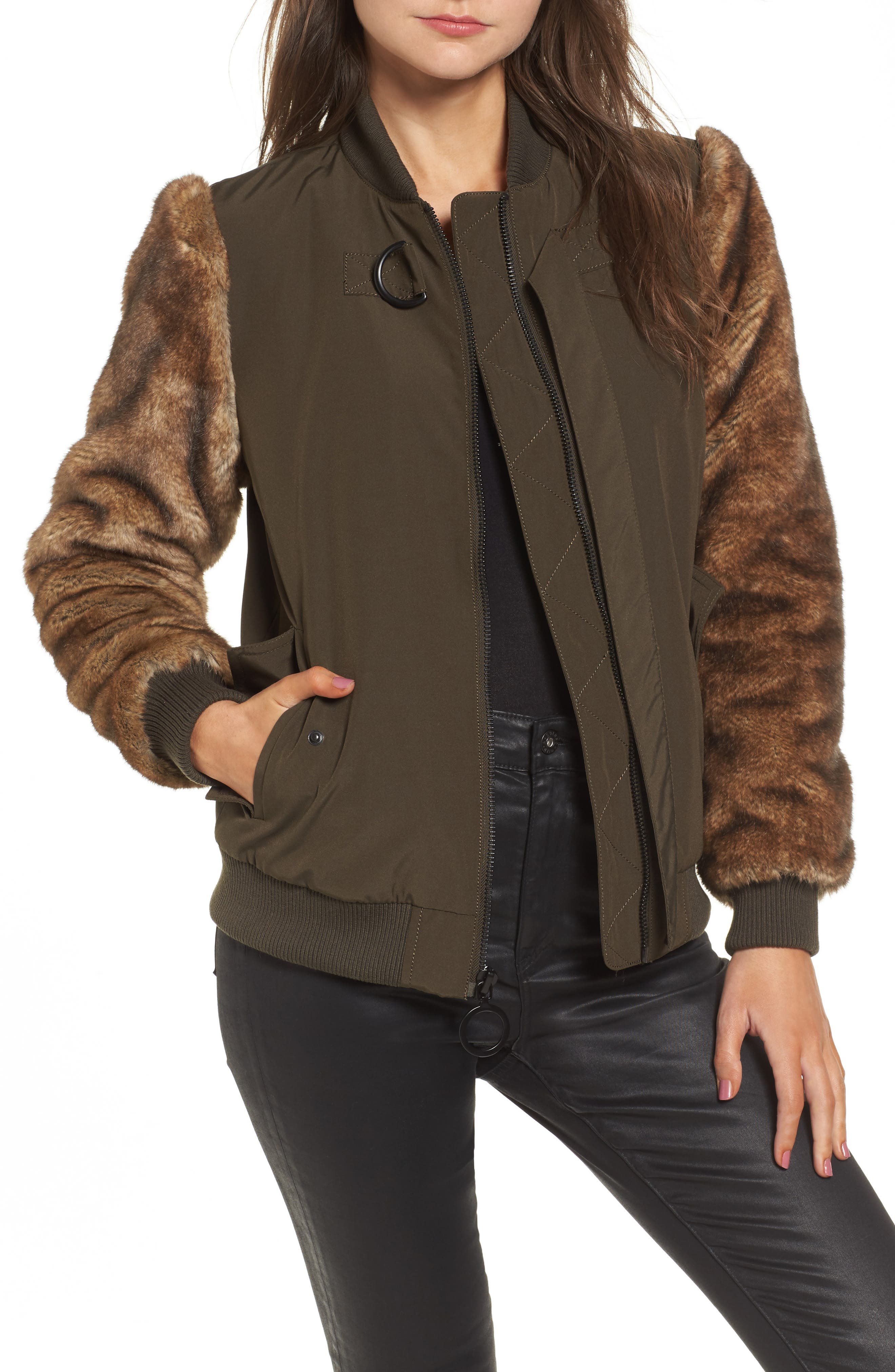 Faux Fur Sleeve Bomber Jacket,                         Main,                         color, Army Green