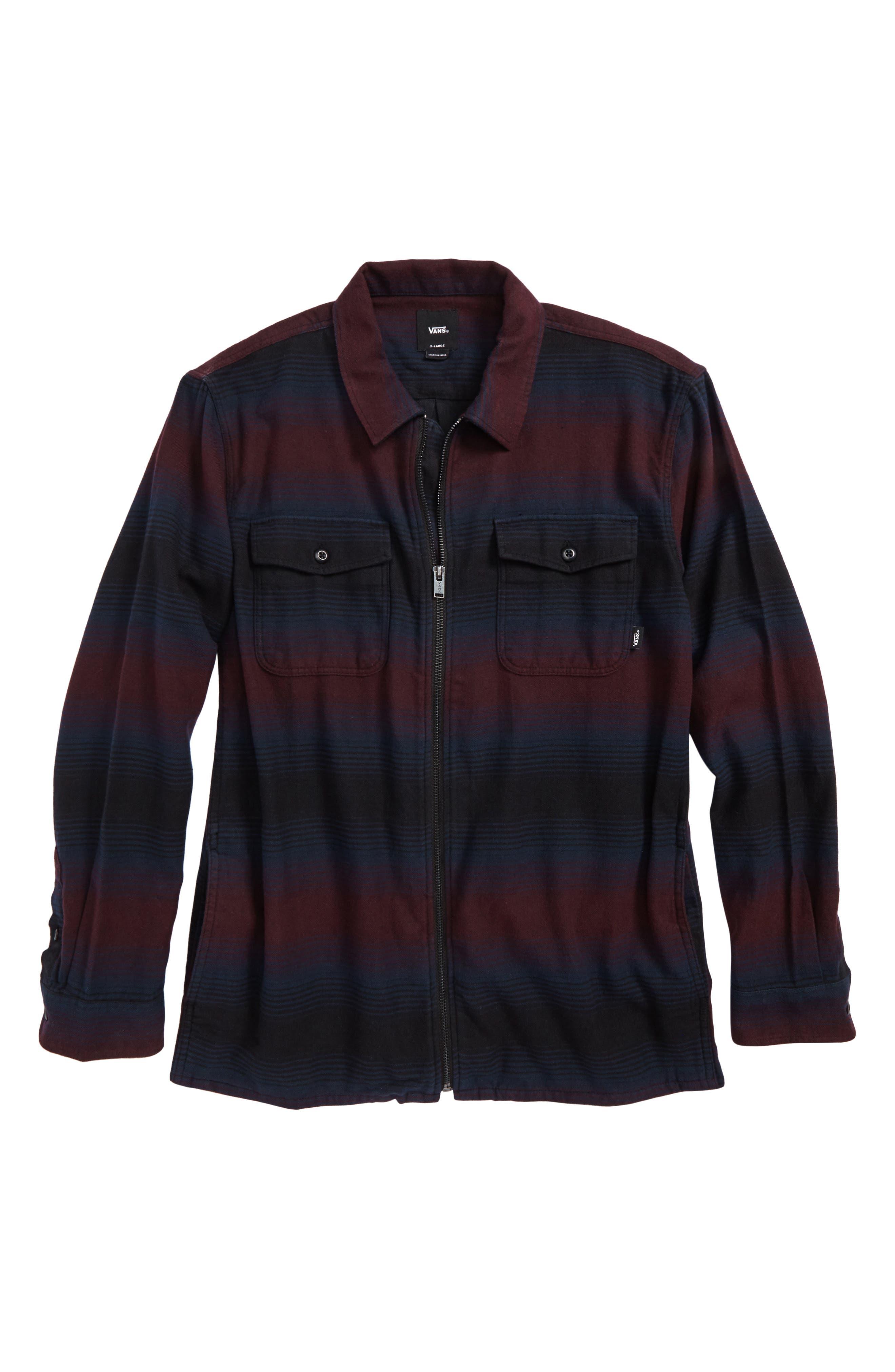 Brewster Zip Front Flannel Shirt,                         Main,                         color, Port Royale/ Stripe