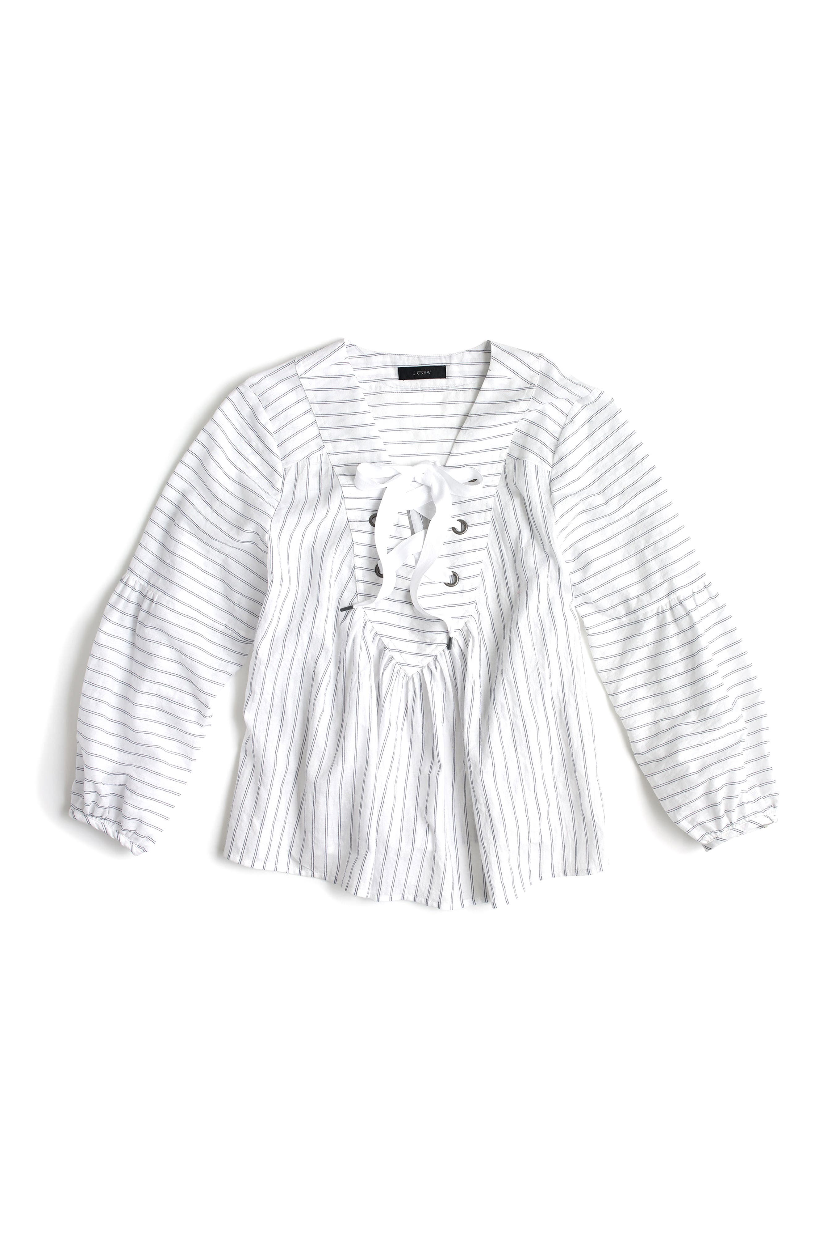 Lace-Up Stripe Cotton Top,                             Alternate thumbnail 3, color,                             White/ Blue