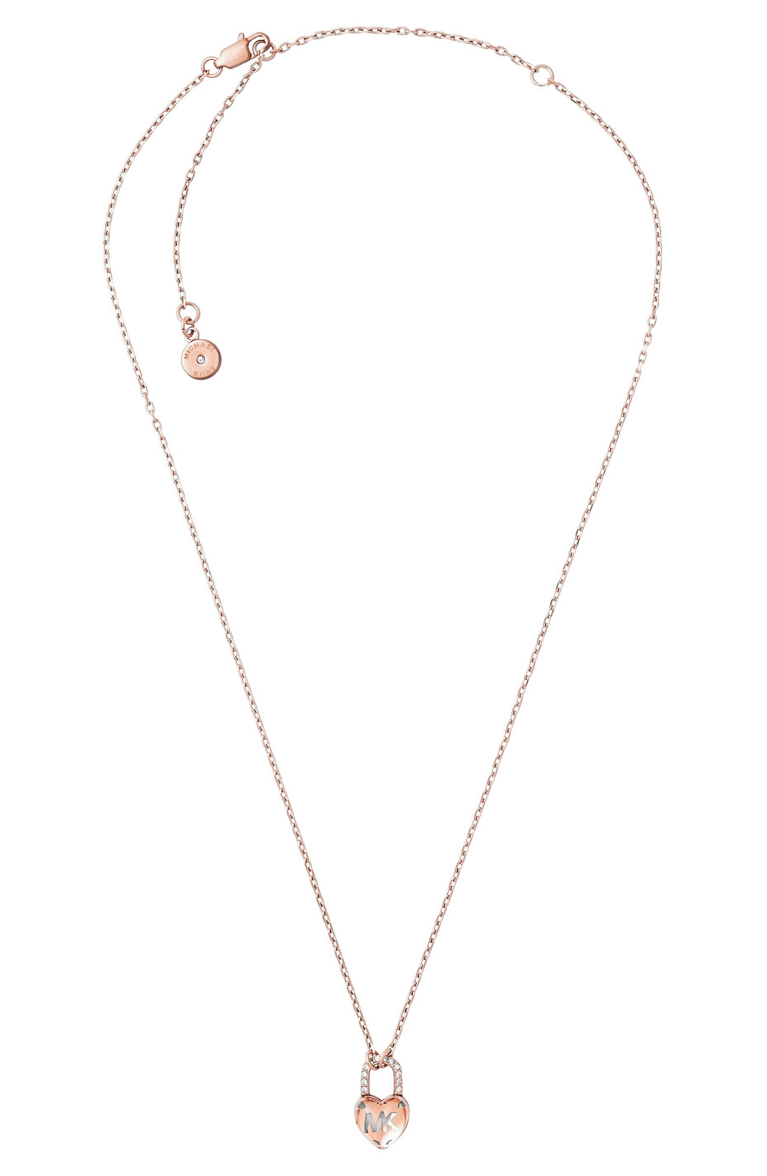 Michael Kors Heart Padlock Pendant Necklace