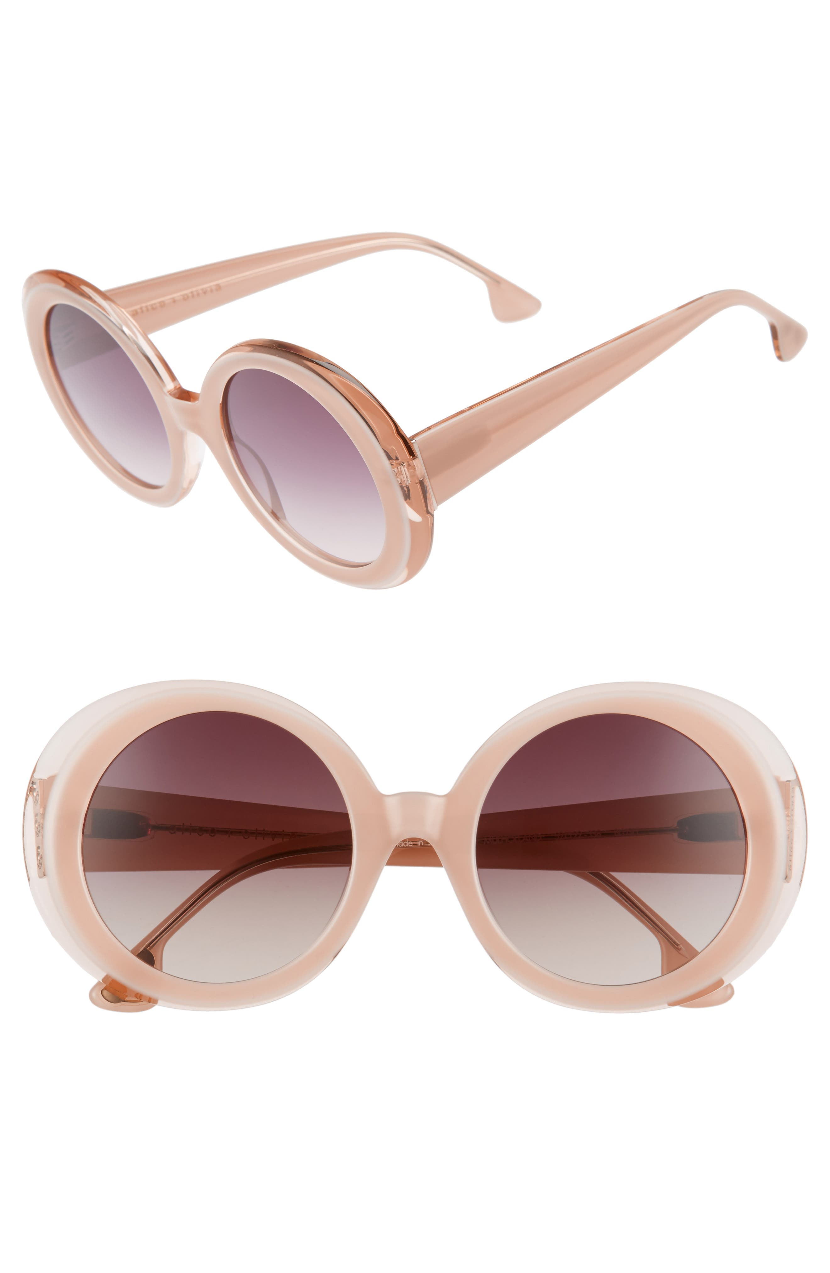 Mulholland 52mm Round Gradient Sunglasses,                             Main thumbnail 1, color,                             Blush