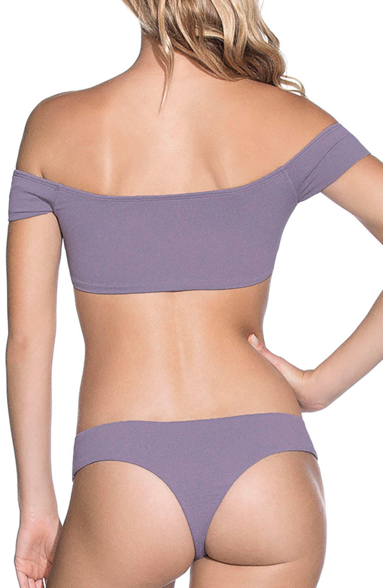 Purple Sage Cumbia Off the Shoulder Reversible Bikini Top,                             Alternate thumbnail 3, color,                             Purple