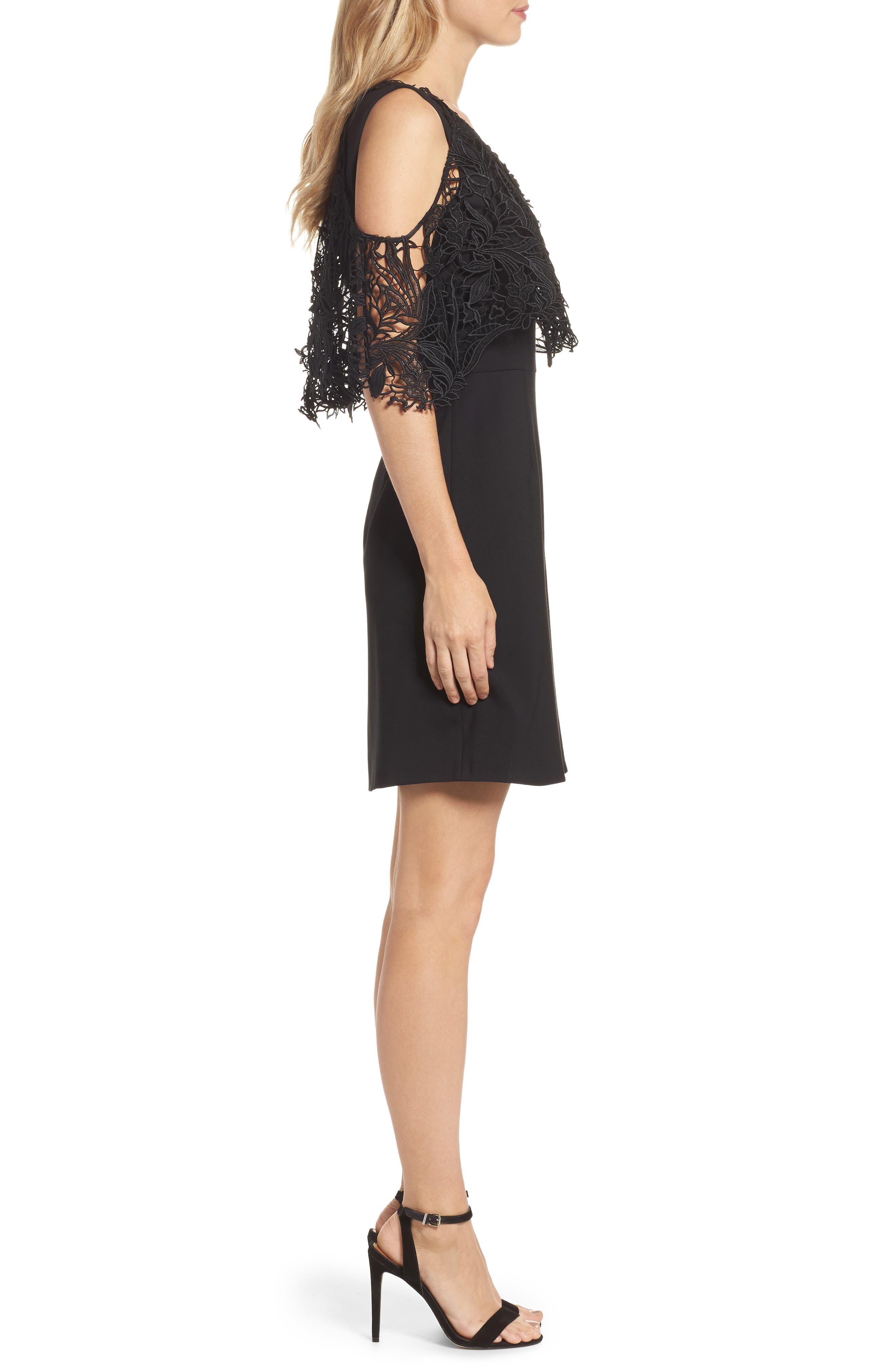 Kena Cold Shoulder Sheath Dress,                             Alternate thumbnail 3, color,                             Black